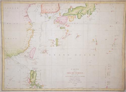 Pérouse, la Jean Francois Carte des découvertes faites en 1778 dans les Mers de Chine et de Tartarie…