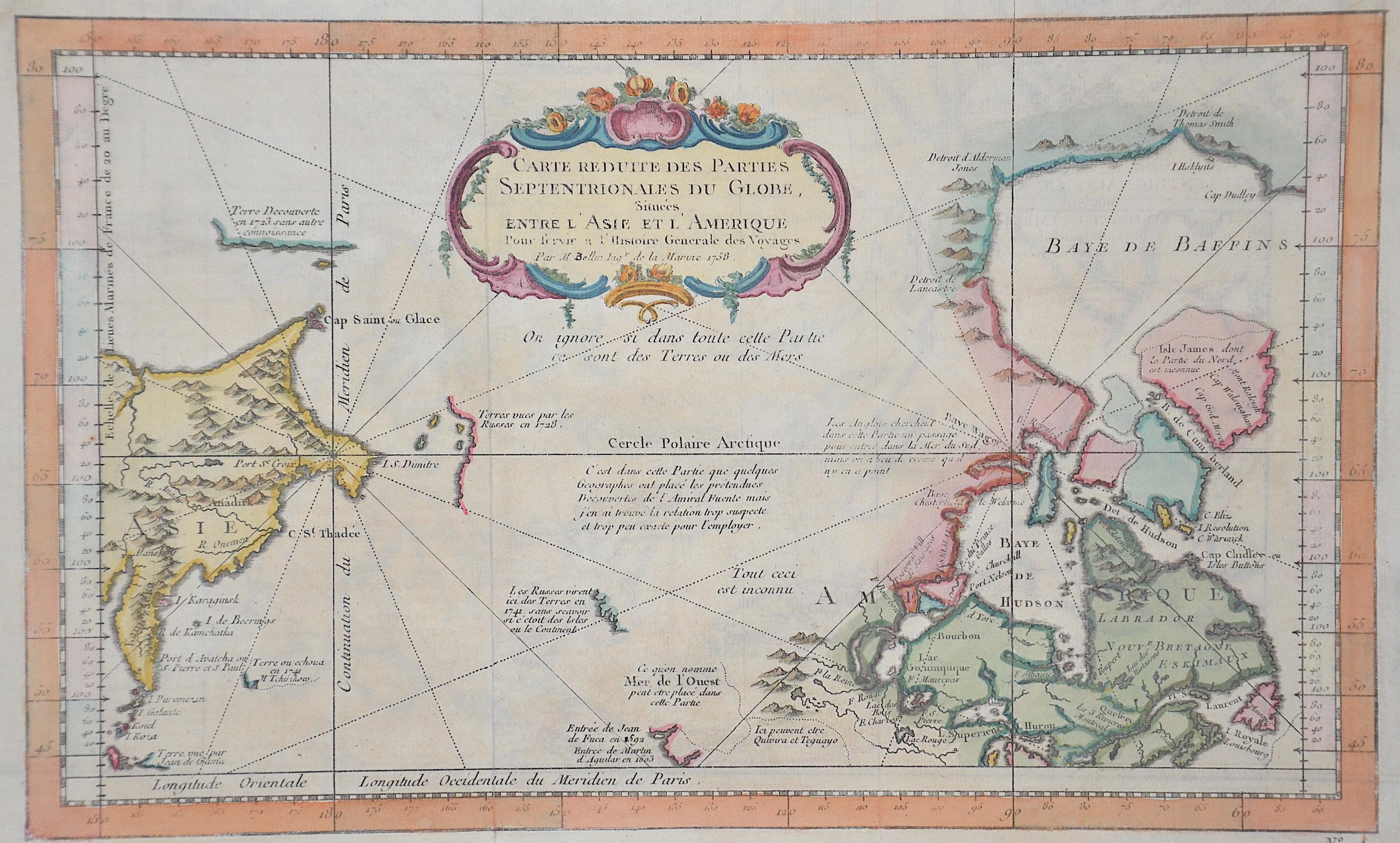 Bellin Jacques Nicolas Carte reduite des parties Septentrionales du Globe, Situées entre L´Asie et L´Amerique