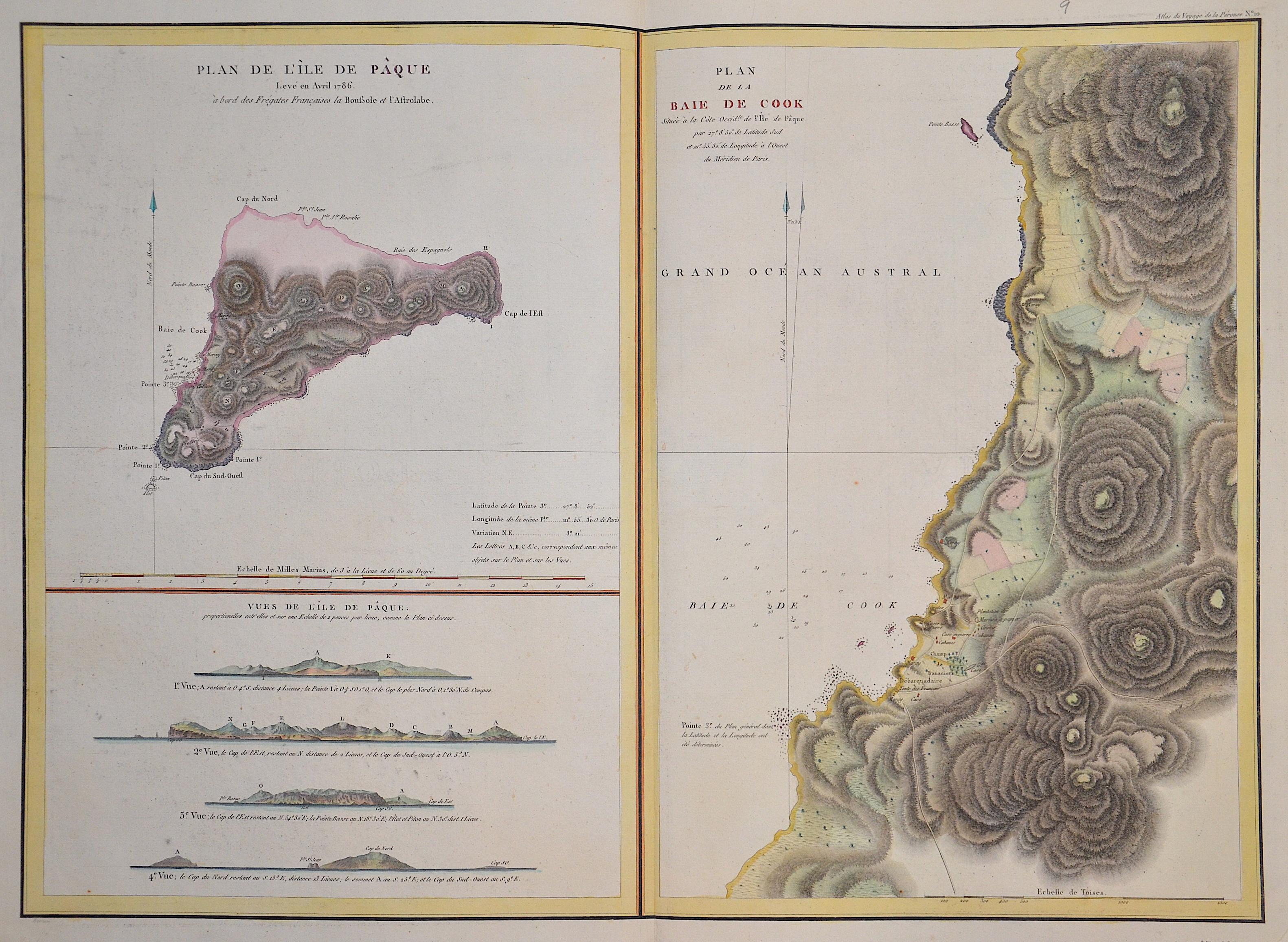 Pérouse, la Jean Francois Plan de l´ Ile de Paque / Plan de la Baie de Cook