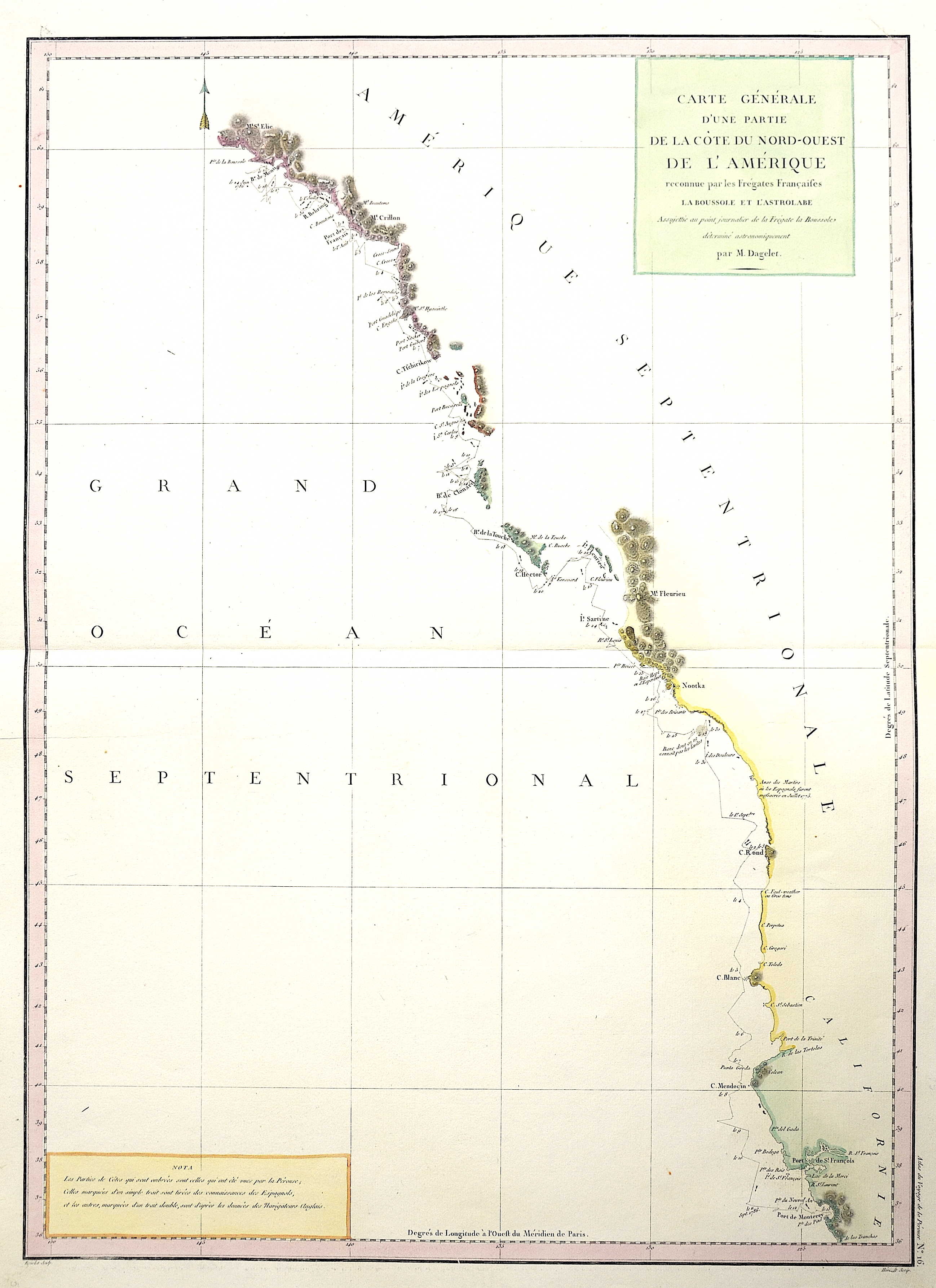 Pérouse, la Jean Francois Carte générale d´une Partie de la côte du nord ouest de l´ Amérique