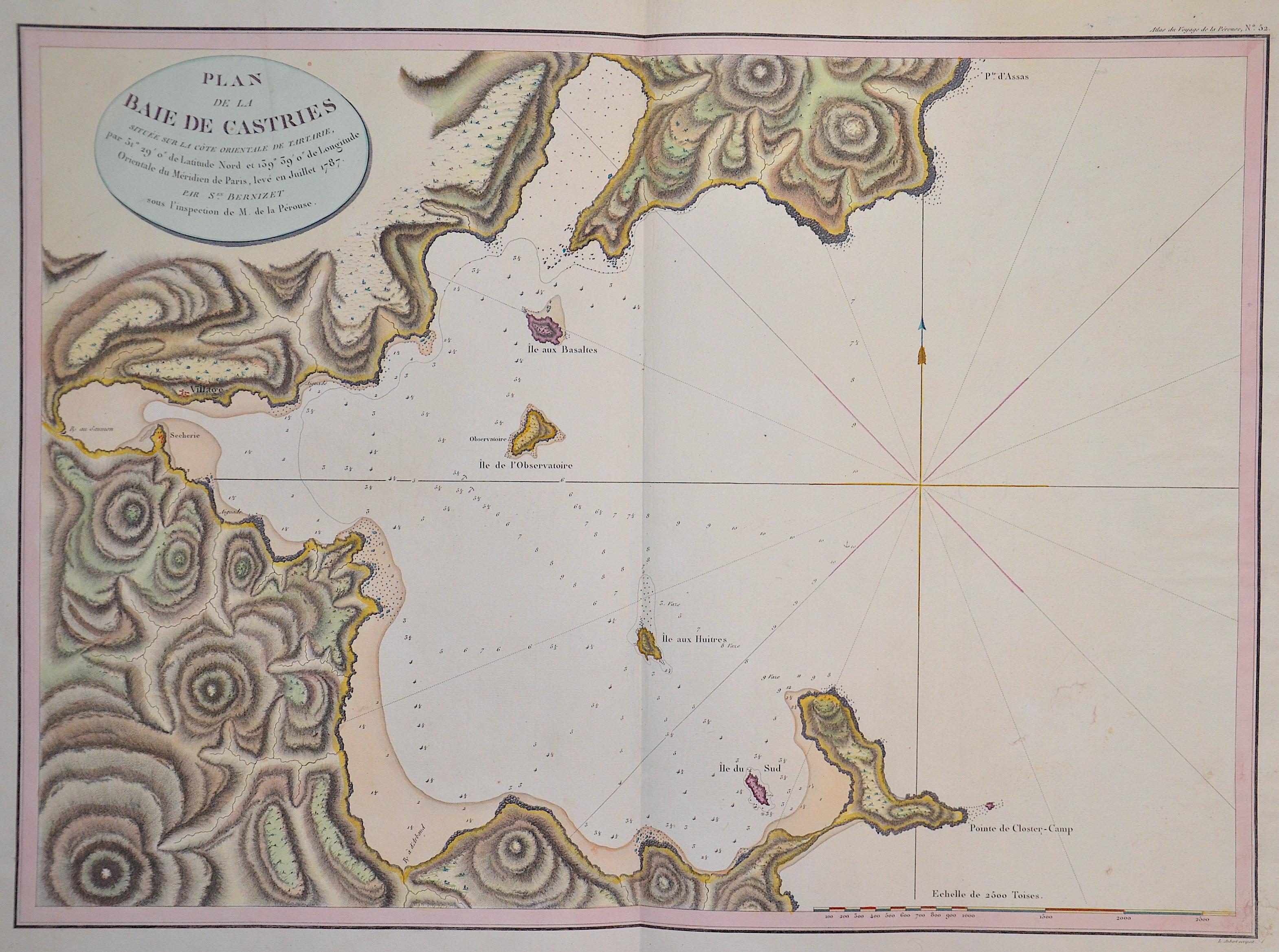 Pérouse, la  Plans de la baie de Castries située sur la côte orientale de Tartarie