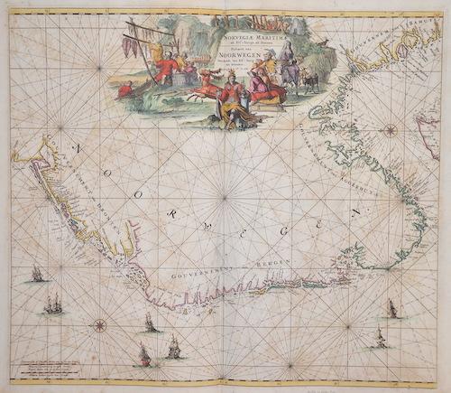 Wit, de Frederick Norvegiae Maritimae ab Elf-burgo ad Dronten / Pascaert van Noorwegen streckende van Elf-burg tot Dronten