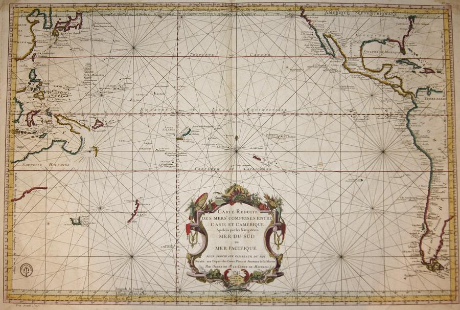 Maurepas, Comte de Jean-Frédéric Carte Reduite des Mers comprises entre l'Asie et l'Amerique Apelees par les Navigateurs Mer du Sud ou Mer Pacifique