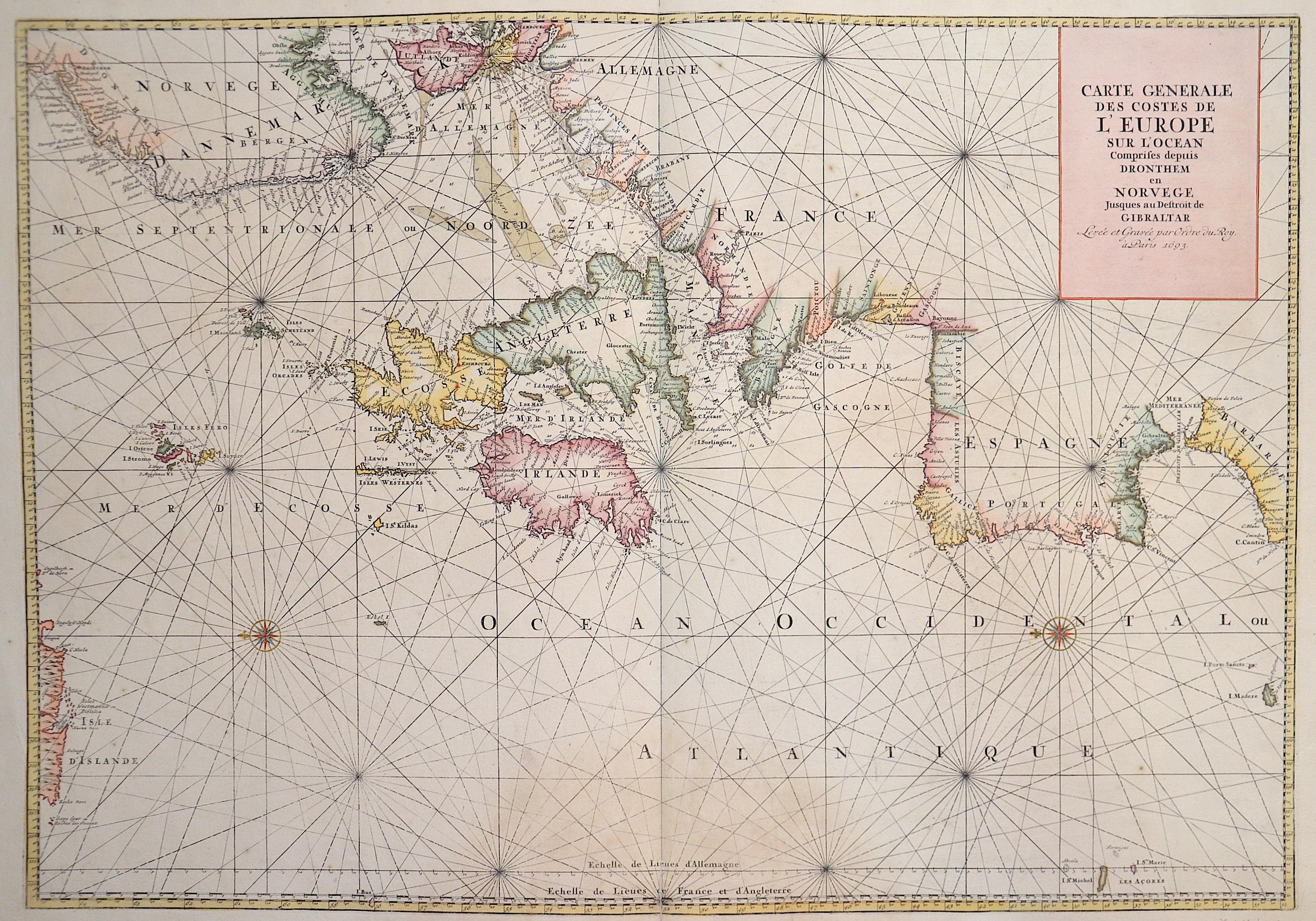 Jaillot Hubert Carte Generale des Costes de l'Europe sur l'Ocean Comprises depuis Dronthem en Norvege Jusques au Destroit de Gibraltar.