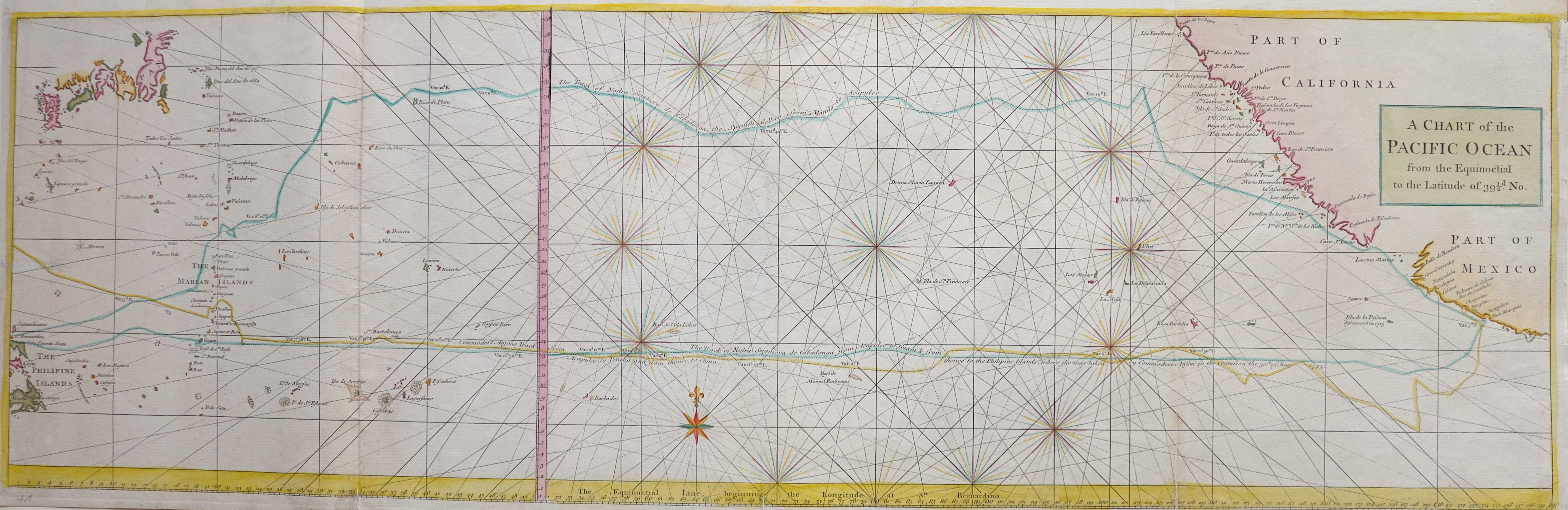 Anson Georg A Chart of the Pacific Ocean from the Equinoctial to the Latitude of 39 1/2d. No.