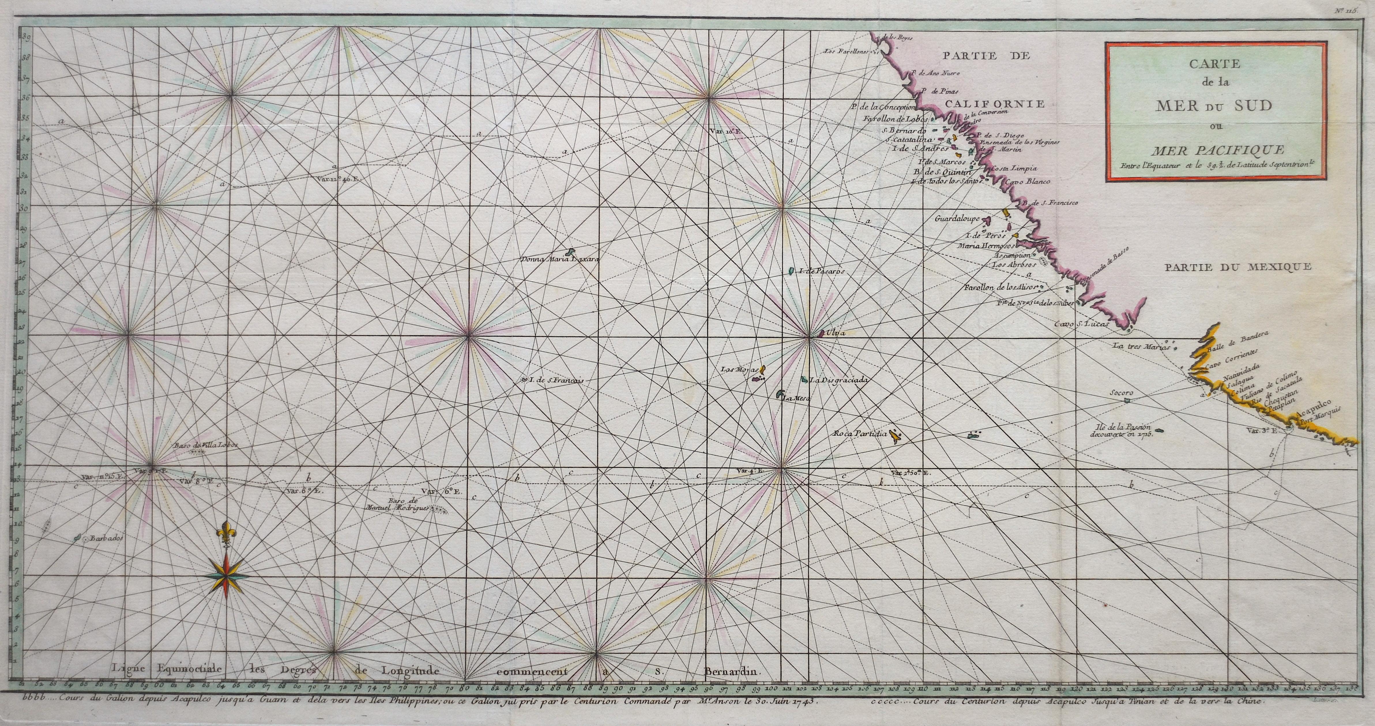 Anson Georg Carte de la Mer du Sud ou Mer Pacifique.