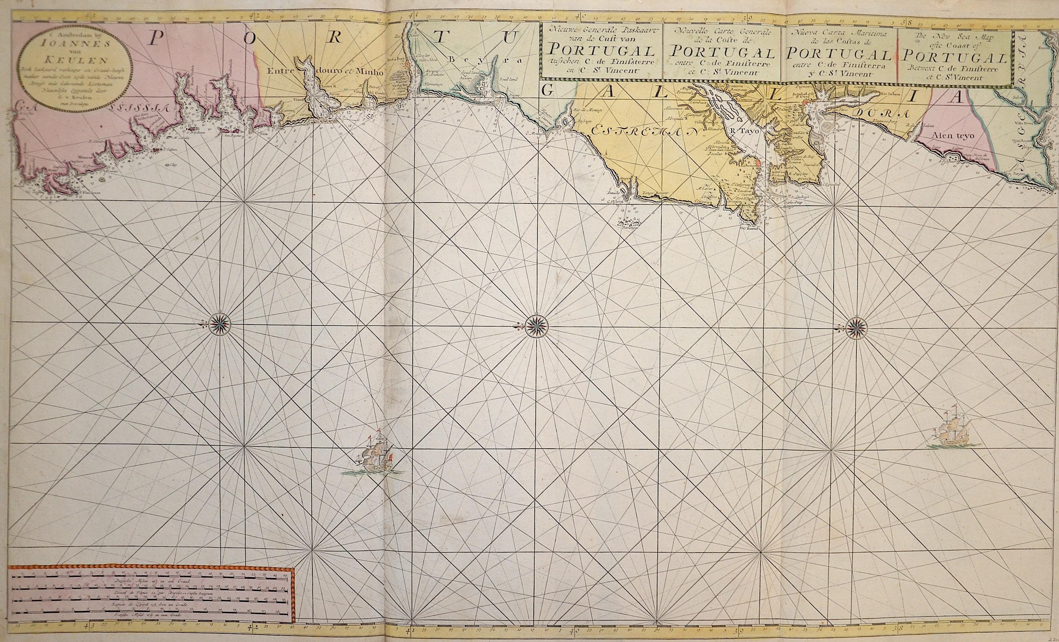 Keulen  Nieuwe Generale Paskaart van de Cust van Portugal tusschen C: de Finissterre en: St. Vincent / The New Sea Map ofte Coast of Portugal Betwext C:..