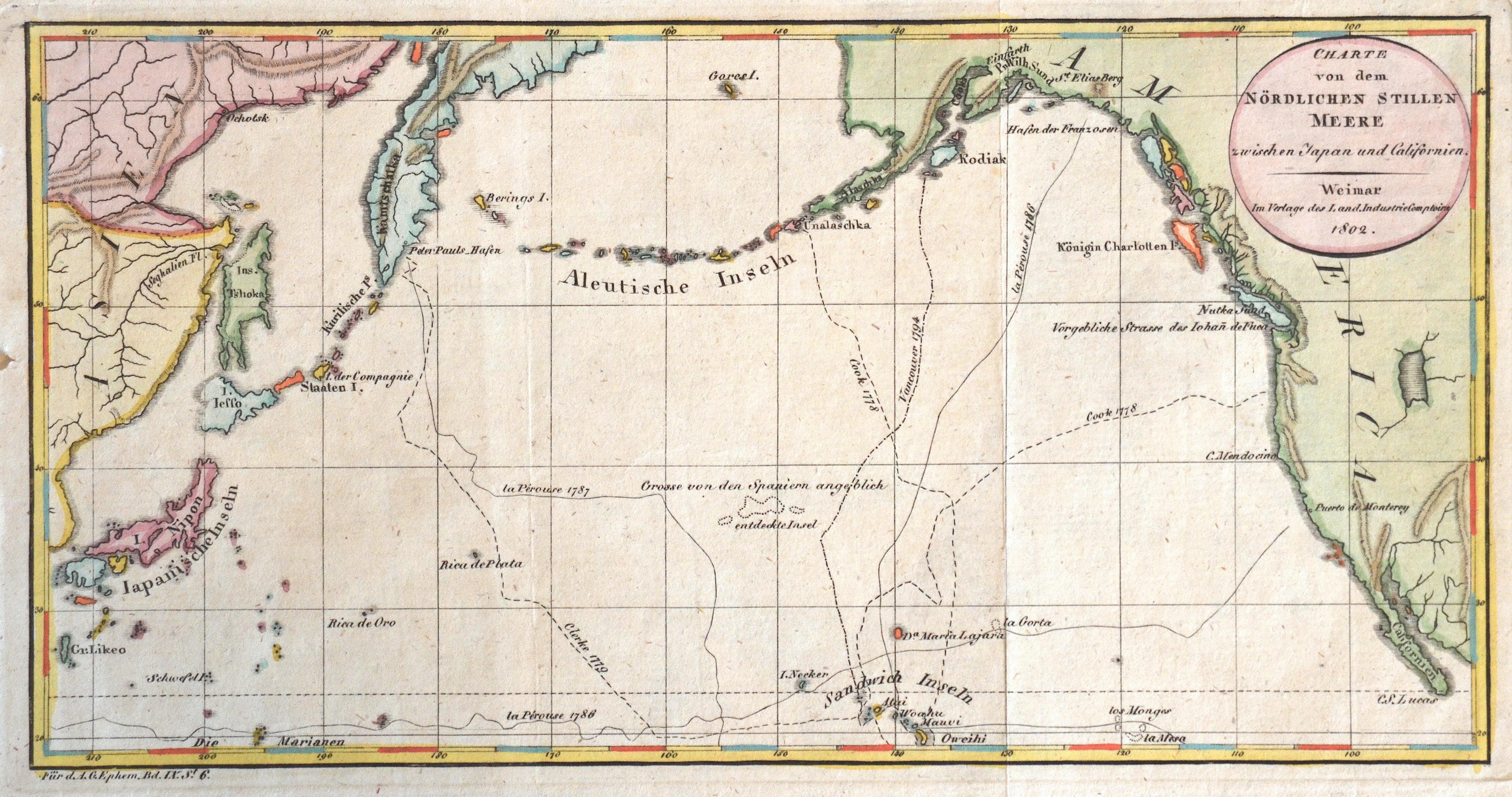 Ephem  Charte von dem Nördlichen Stillen Meere zwischen Japan und Californien.