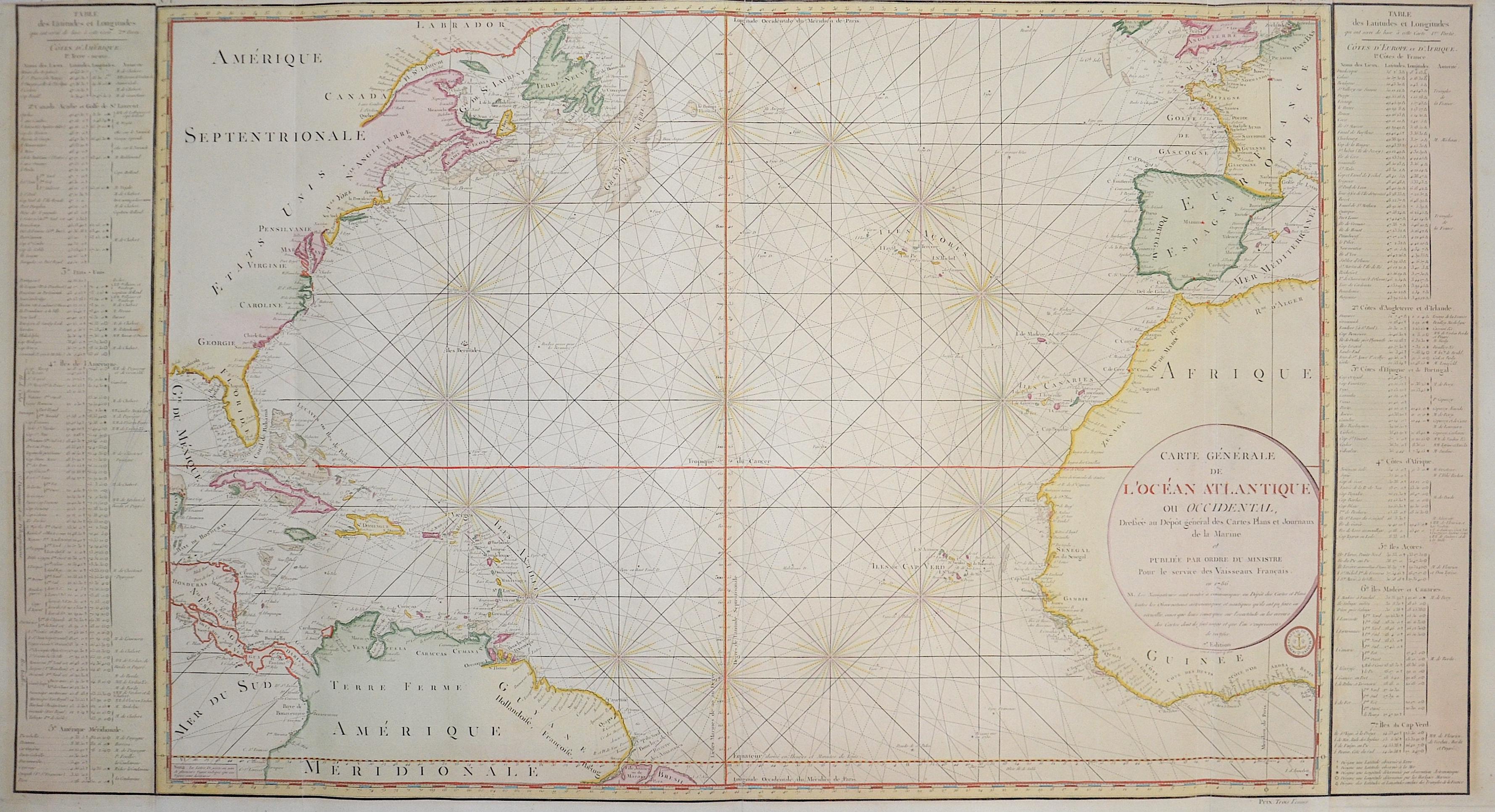 Bellin Jacques Nicolas Carte Générale de L'Océan Atlantique ou Occidentall,..
