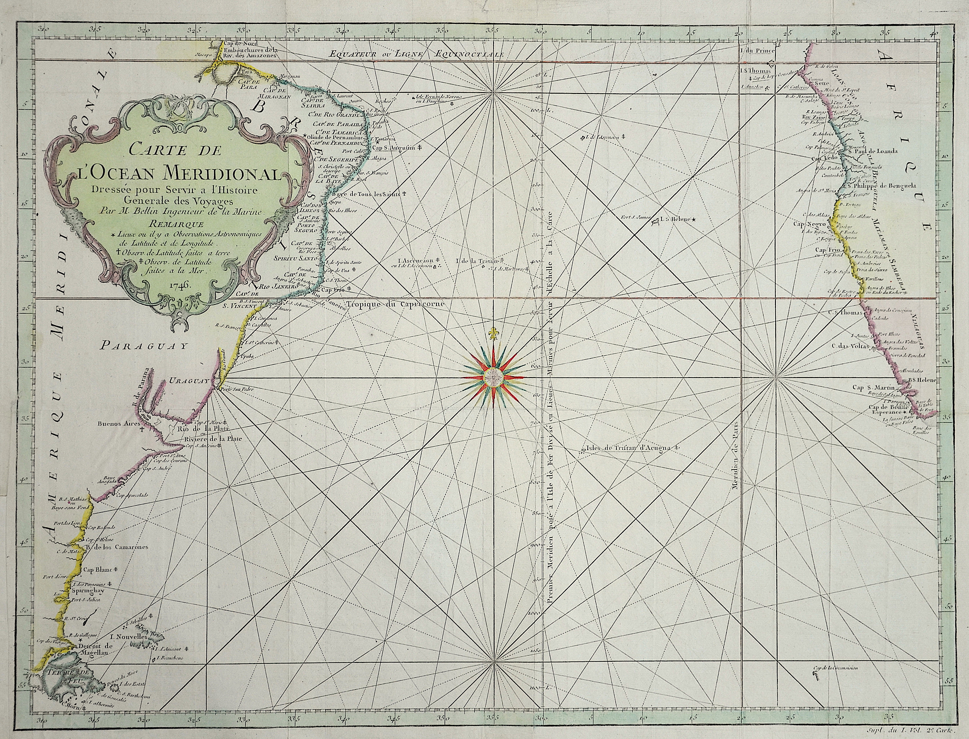 Bellin Jacques Nicolas Carte de L'Ocean Meridional