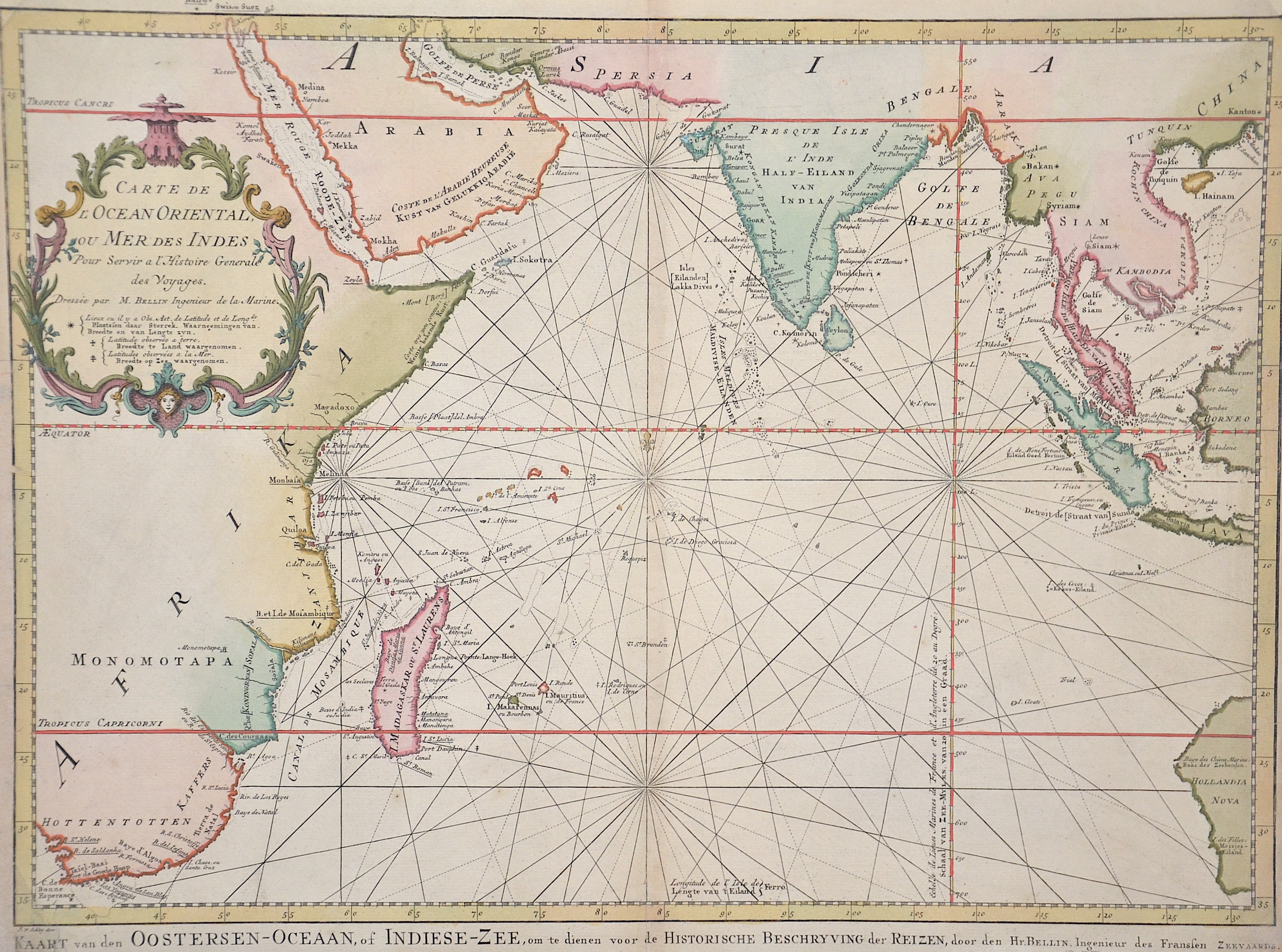 Bellin Jacques Nicolas Cartre de l'Ocean Oriental, ou Mer des Indes