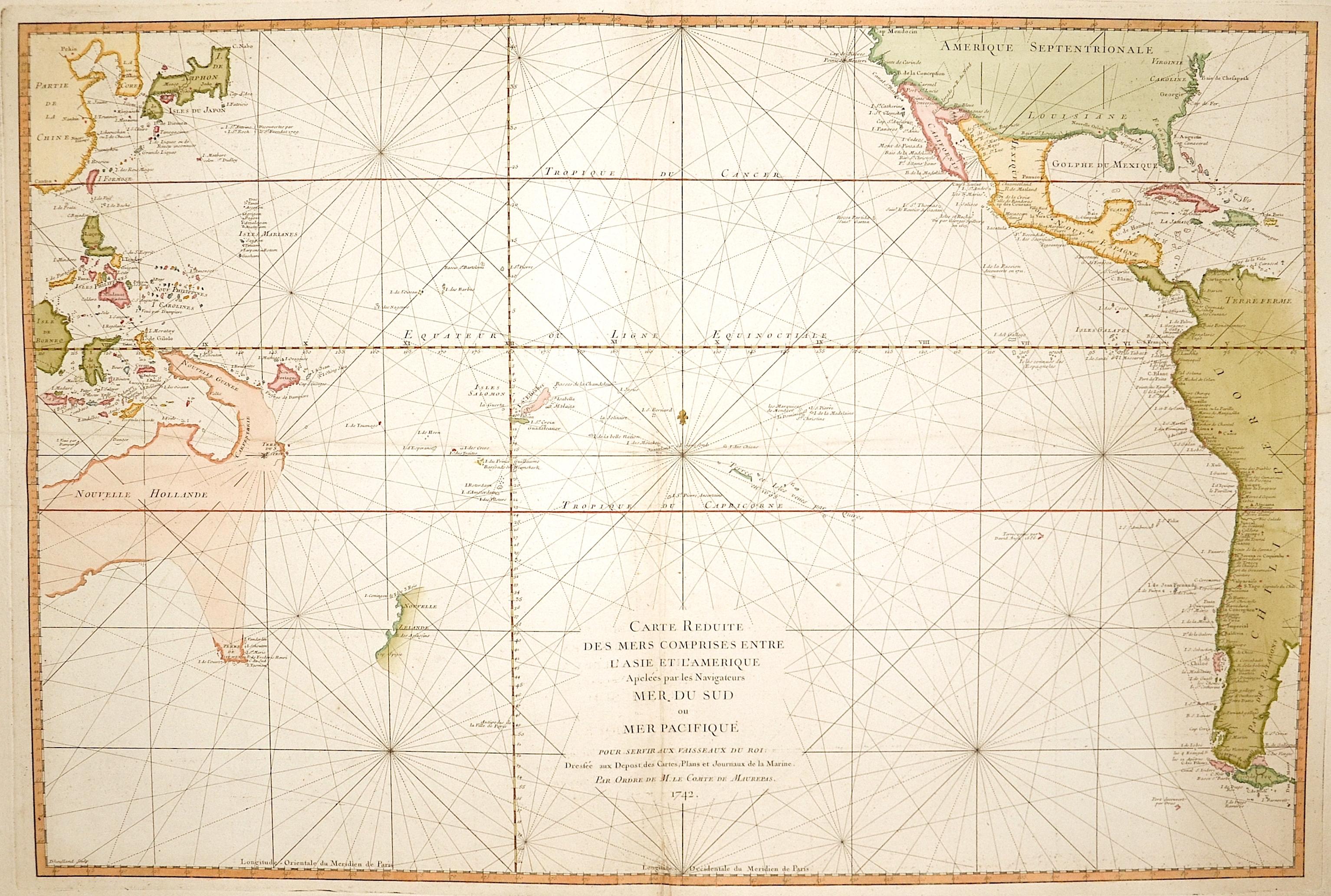 Maurepas, Comte de  Carte reduite de…Mer du Sud…