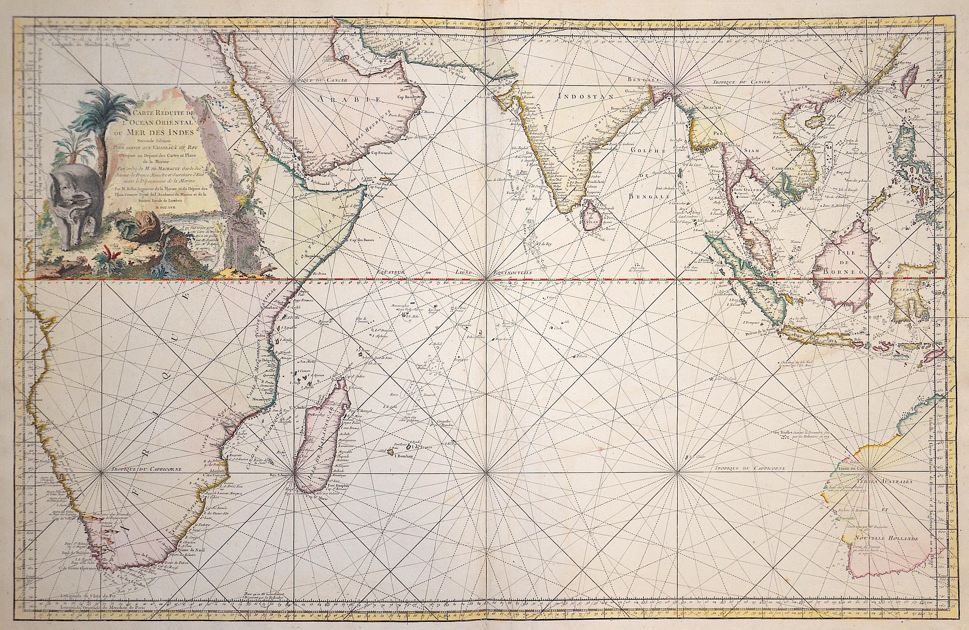 Bellin Jacques Nicolas Carte reduite de l'Ocean Oriental…