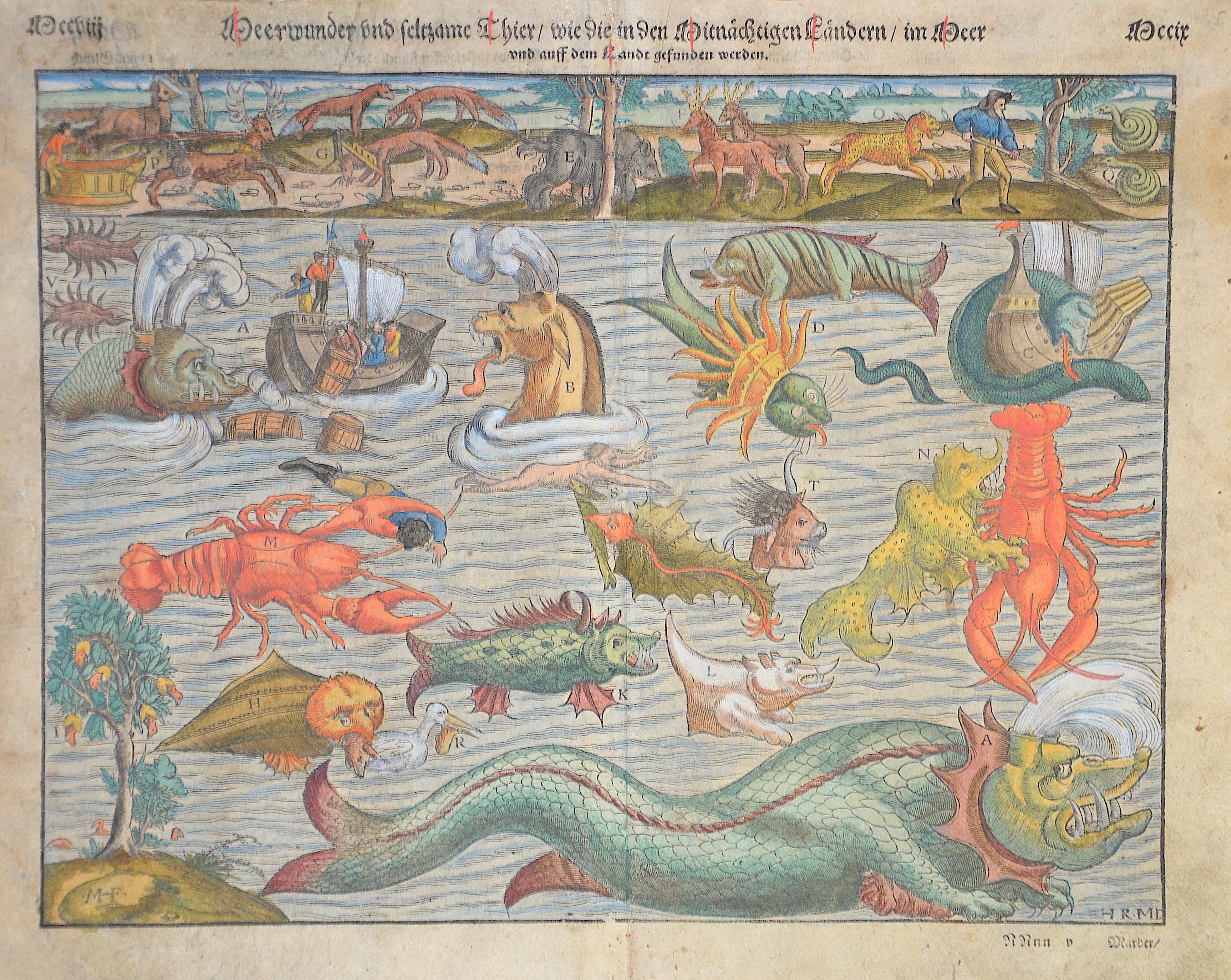 Münster Sebastian Meerwunder und seltsame thier/wie die in Mitnächtigen Ländern im Meer und auff dem Landt gefunden werden
