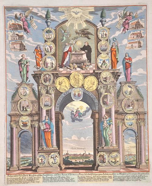 Back Elias Ausgerichtete Ehren Porte, Augspurgischer Confeßion, auf das Anno 1730 den 25. Juny herrlichst begangene Jubileum alhier in Augspurg zu ewigem..