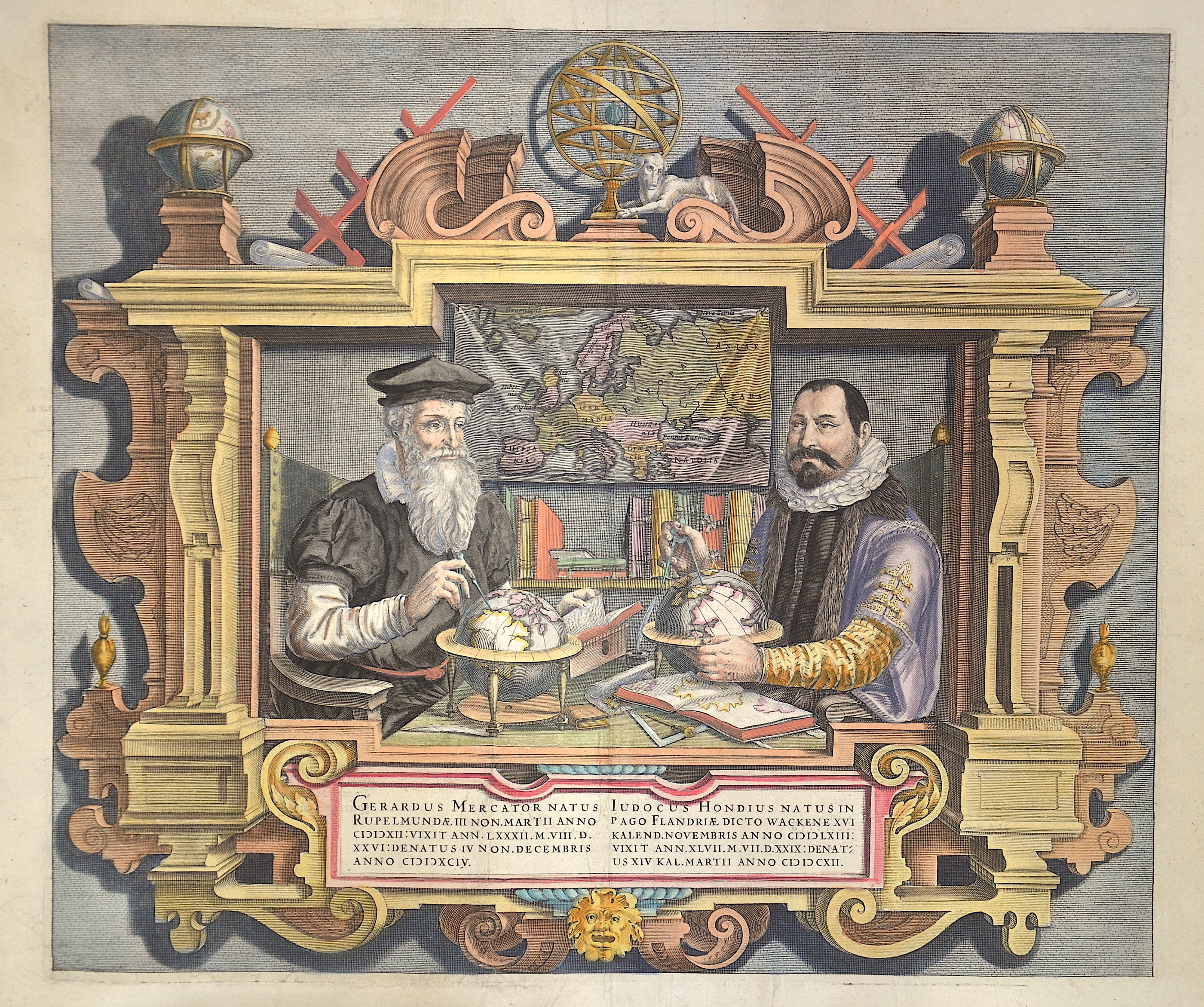 Mercator-Van den Keere Coletta Gerardus Mercator Natus Rupelmundiae … Iudocus Hondius Natus in Pago Flandriae dicto Wackene