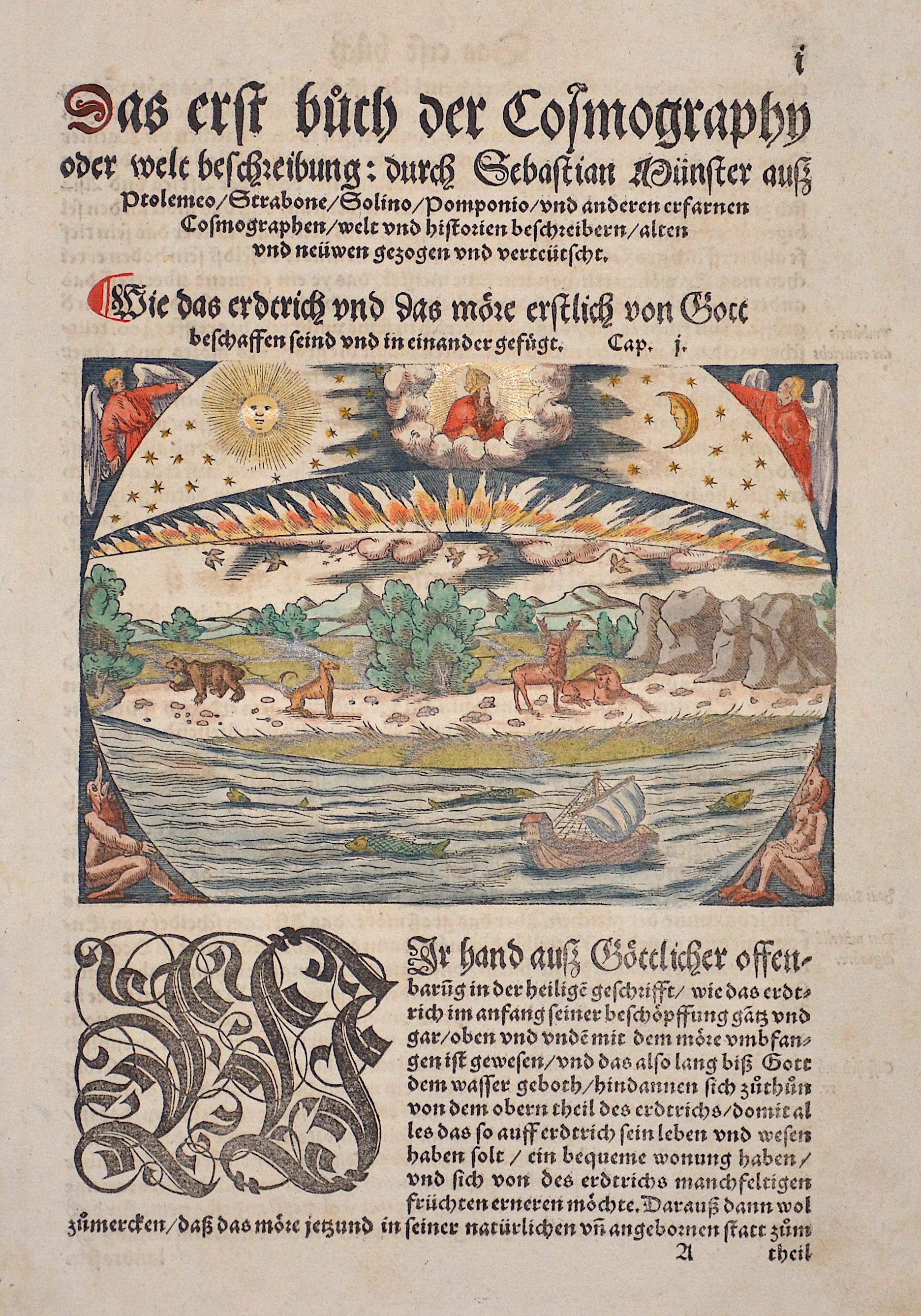 Münster Sebastian Wie das Erdtrich und das Meere erstlich von Gottbeschaffen seint/ und in einander gefügt