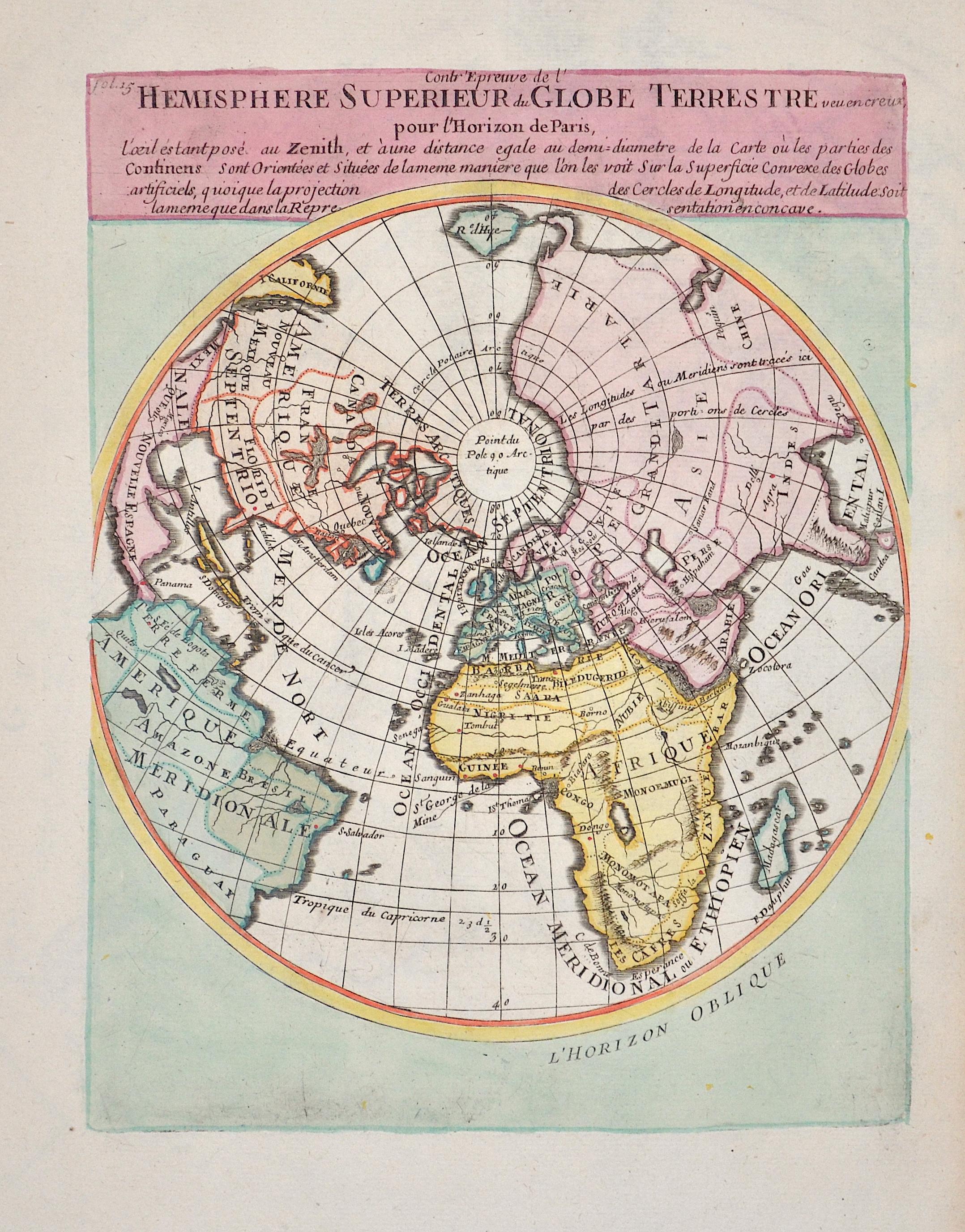 Anonymus  Hemisphere superieur du Globe Terrestre vue en creux pour l´horizon de Paris…