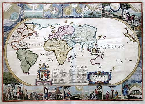 Moxon/ VisscherNicolas  A Map of all the Earth and after the Flood it was devided among the sons of Noah…