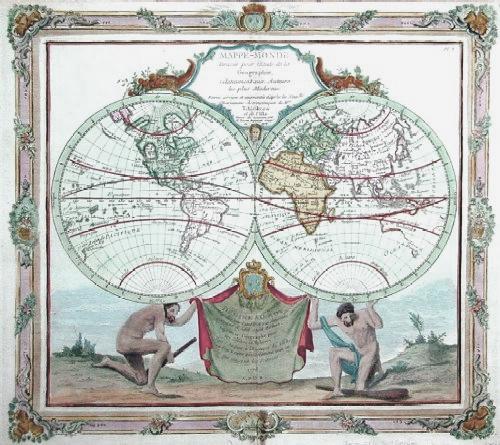L´Isle, de /Covens & Mortier Guillaume Mappe- Monde- dresse pour l´edude de la geographie…..