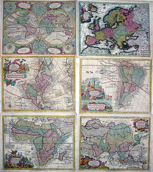 Seutter Matthias Diversi Globi Terr- Aquei…./Nov Orbis sive Americas Septentrionalis/America meridionalis/Asia/Europa/Africa
