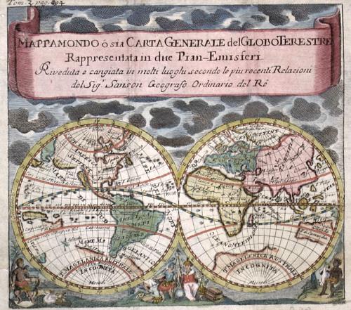 Sanson  Mappa Mondo o sia Carta Generale del Globo Terestre Rappresentata in due Pian – Emisferi