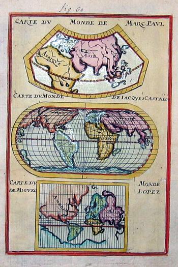 Mallet  Carte du Monde de Marc Paul/ Carte du Monde de Iaques Gastaldo/ Carte du Monde de Miguel Lopez