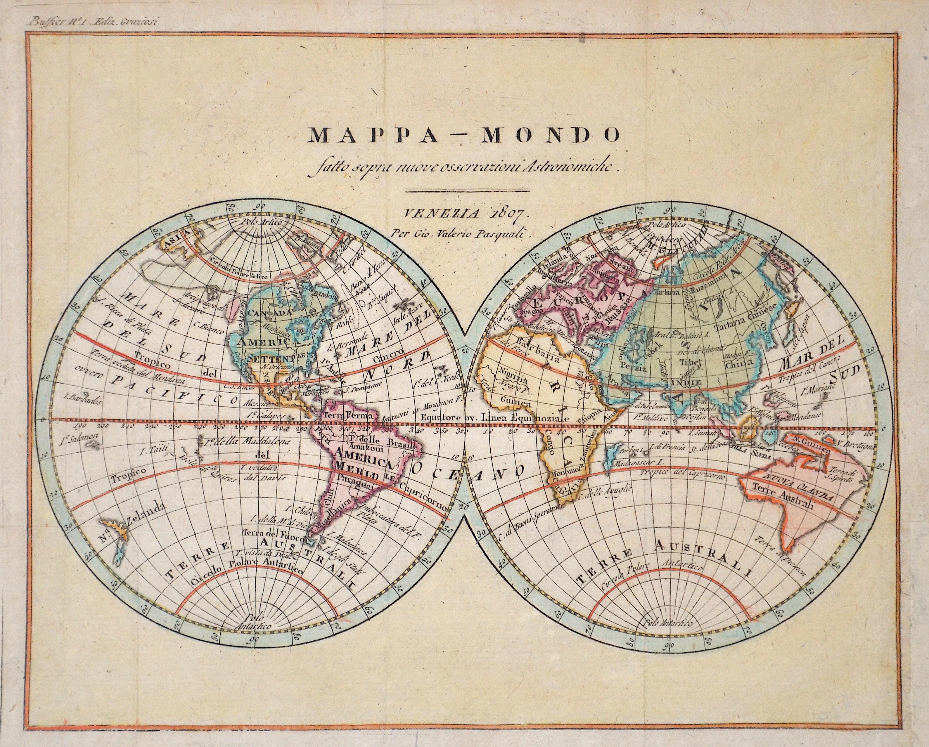 Pasquali Gio Valerio Mappa – Mondo satto sopra nuove osservazioni Astronomiche