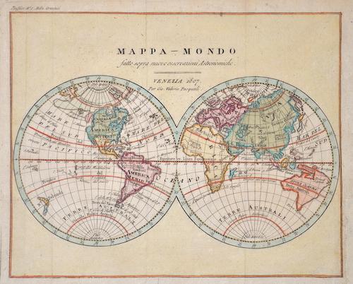 Pasquali  Mappa – Mondo satto sopra nuove osservazioni Astronomiche