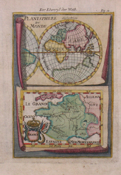 Mallet Alain Manesson Planisphere du monde/ Der eberiss der Welt