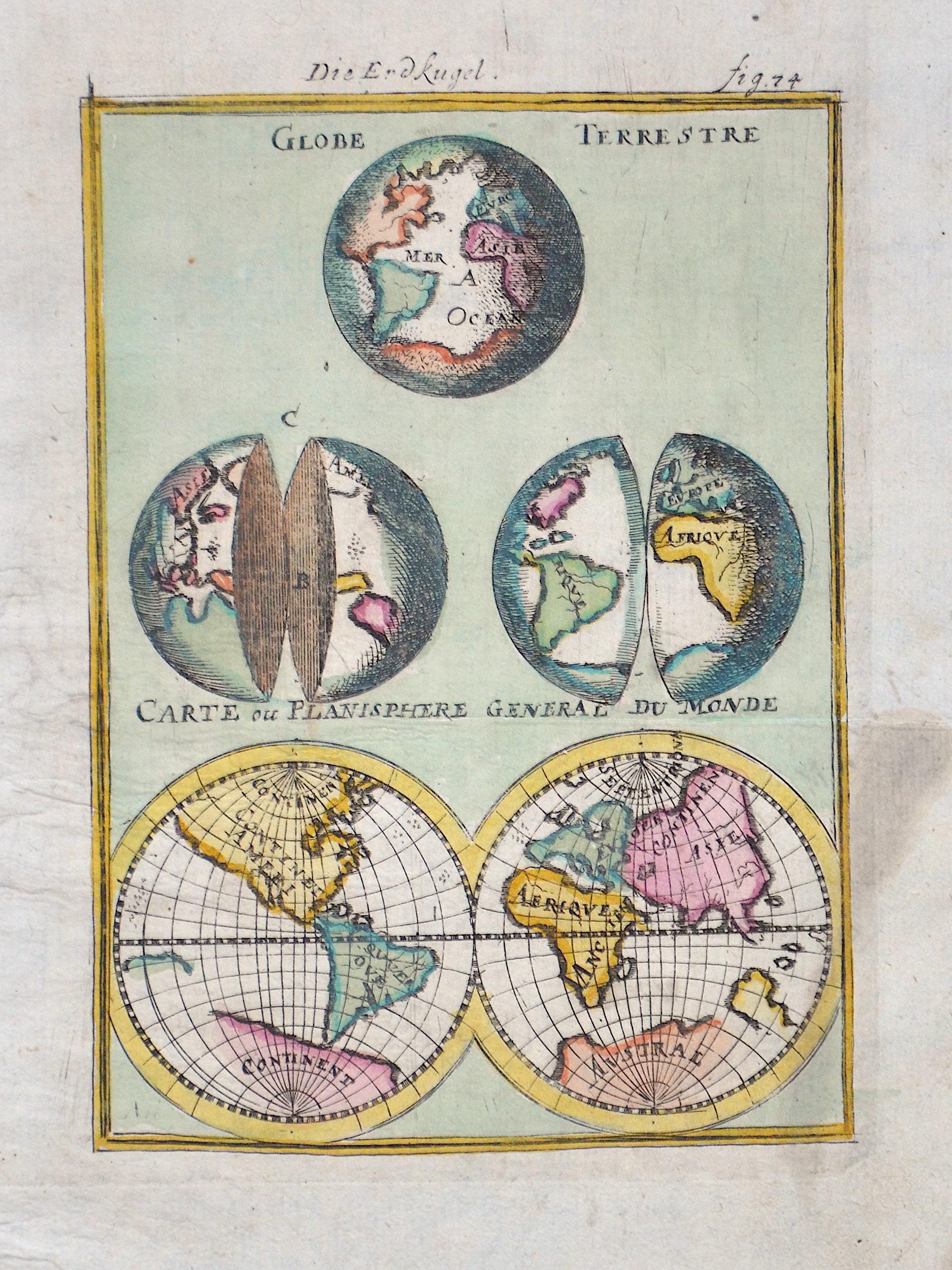 Mallet Alain Manesson Globe Terrestre/ Carte ou Planisphere general du Monde/ Die Erdkugel