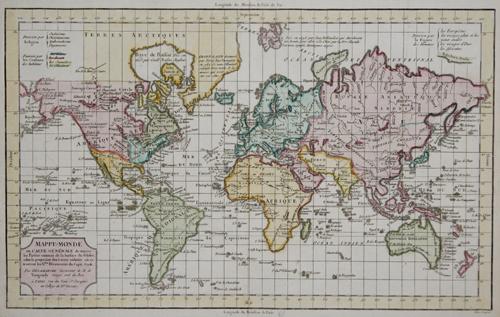 Vaugondy,de Robert Mappe- monde ou carte generale de toutes les parties connues de la surface du globe……