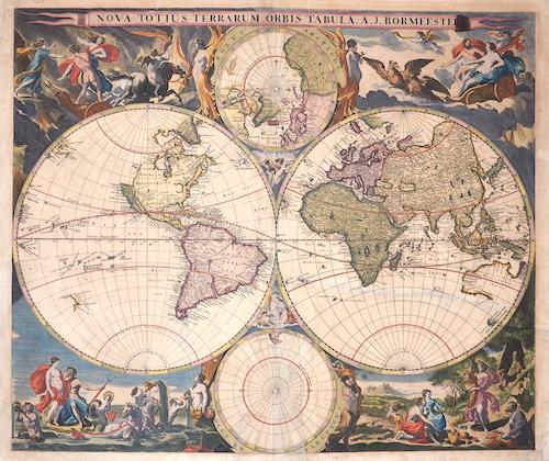 Bormeister  Nova totius Terrarum Orbis Tabula. A. J. Bormeester
