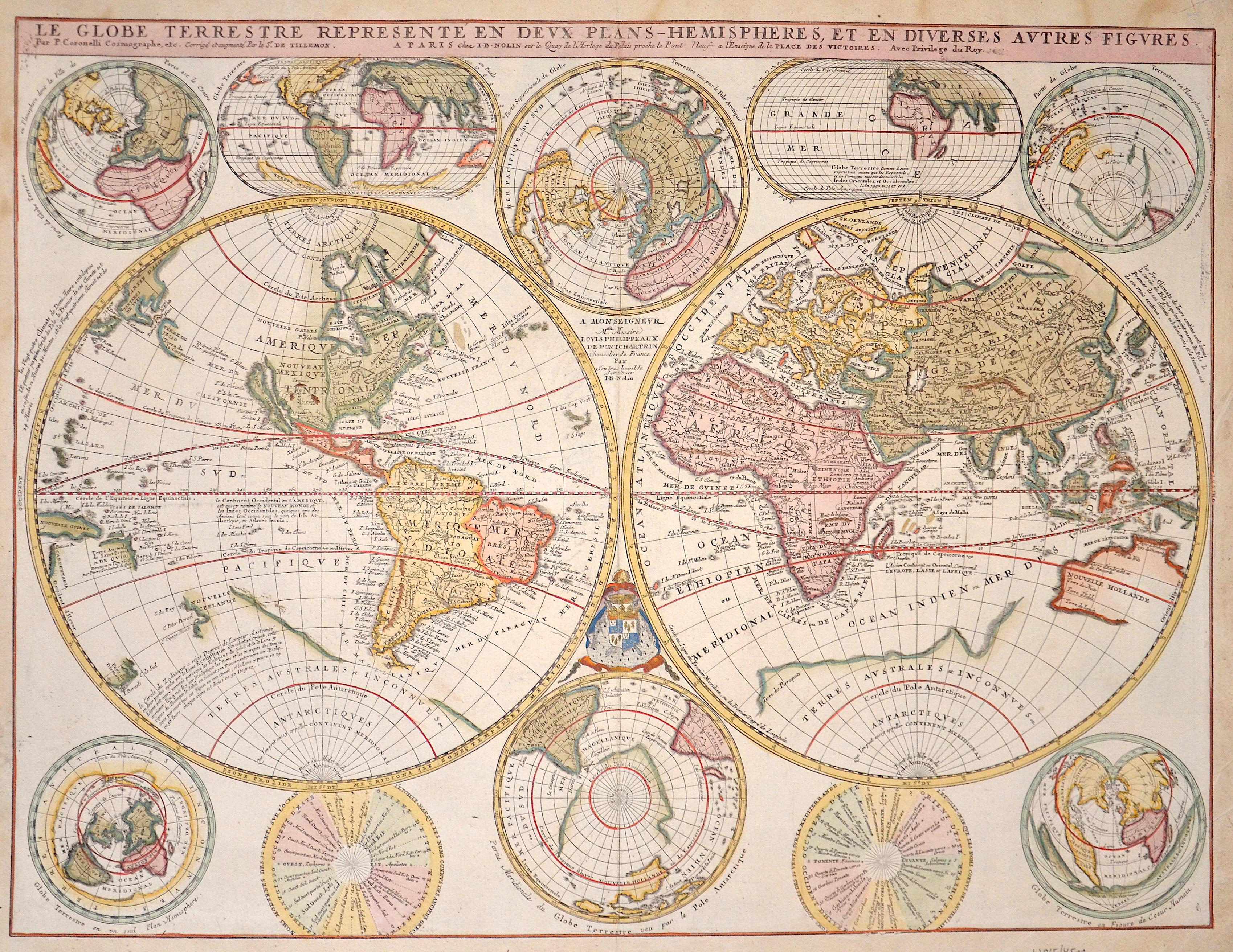 Nolin/Coronelli Jean Baptiste Le Globe Terrestre representé en duex plans- Hemispheres, et en diverses autres figures