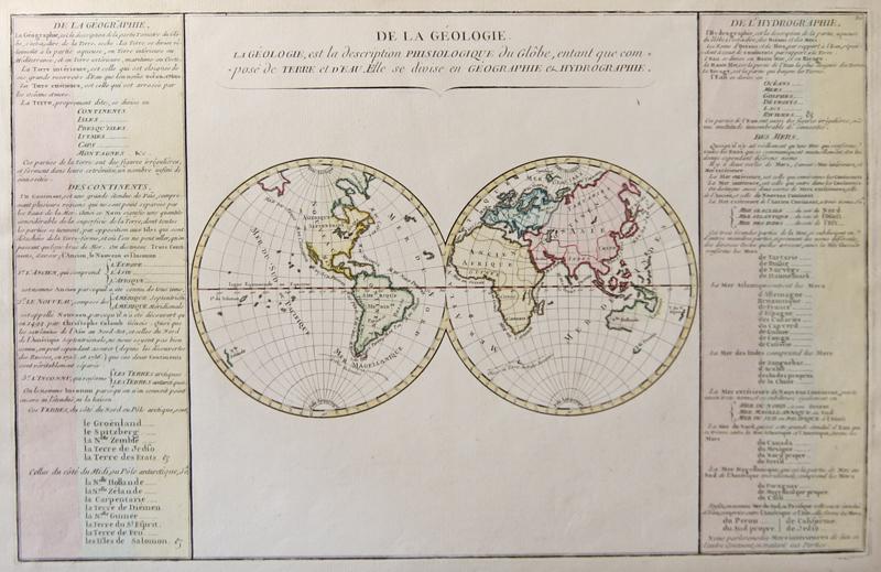 Bonne Rigobert De la géologie.La géologie,est la description Phisiologique du Globe,entant que composé de Terre et d´Eau Elle se divise en Géographie et Hydrographie