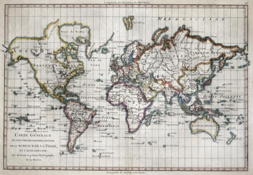 Bonne Rigobert Carte Generale de toutes les parties connues de la surface de la terre….