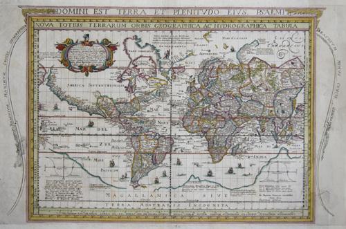 Cavazza  Domini est Terra et Plenitudo eius Psalmi/ Nova totius Terrarum Orbis Geographica ac Hydrographica Tabula