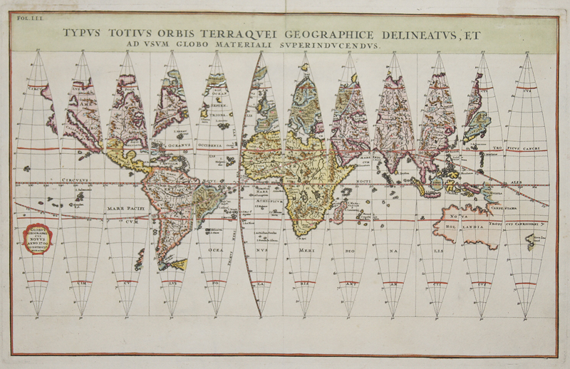 Scherer Heinrich Globus Geographicus novus anno 1700 construct monachii,Typus Totius Orbis Terraquei Geographice Delineatus, et Ad Usum Globo Materiali Superinducendus