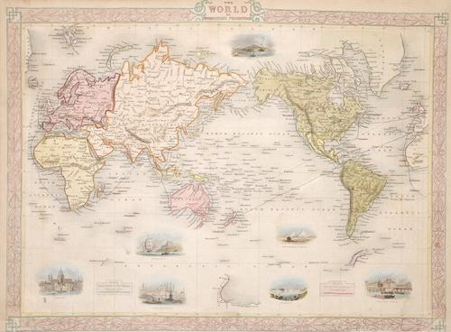 Tallis John The world on Mercators projection