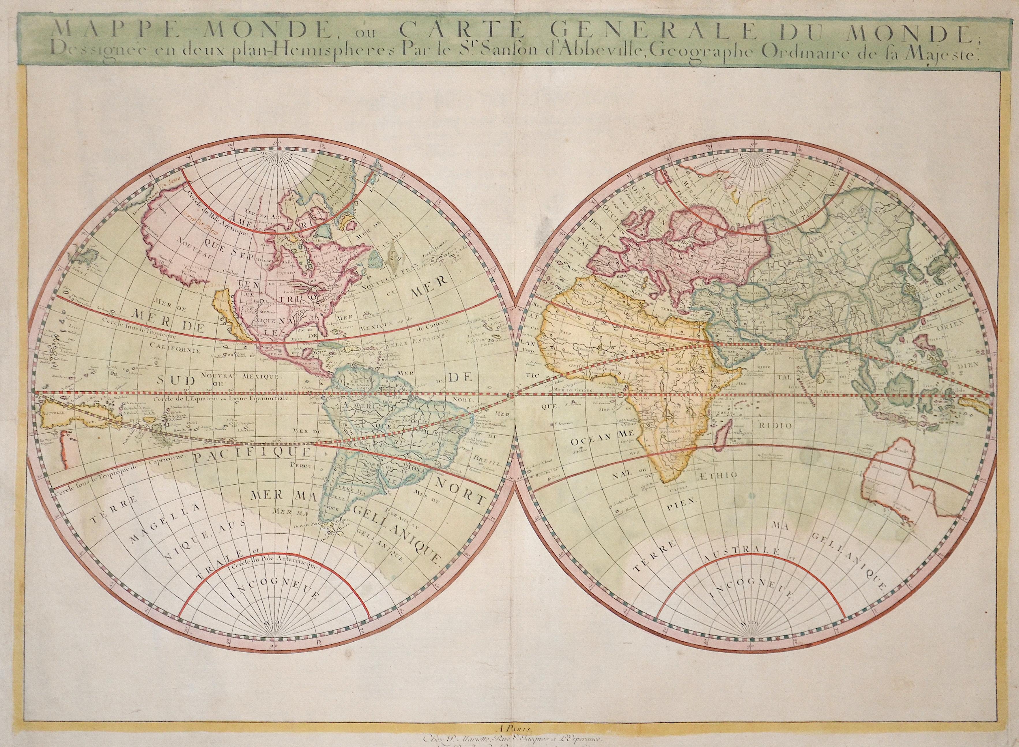Sanson  Mappe-Monde, ou carte generale du Monde; Dessigneè en deux plan-Hemispheres Par le Sr. Sanson d'Abbeville, Geographe Ordinaire de sa Majeste.