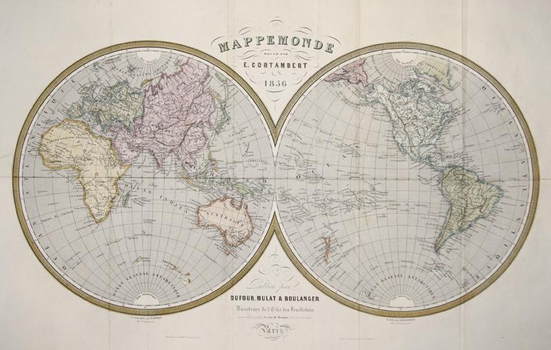 Dufour Mulat & Boulanger Mappemonde revue par E. Cortambert 1856