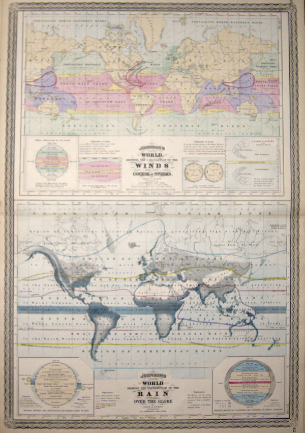 Johnson Alvin Jewitt Johnson's World, showing the circulation of the Winds and the course of storms. / Johnson's World showing the distribution of the Rain over the Globe