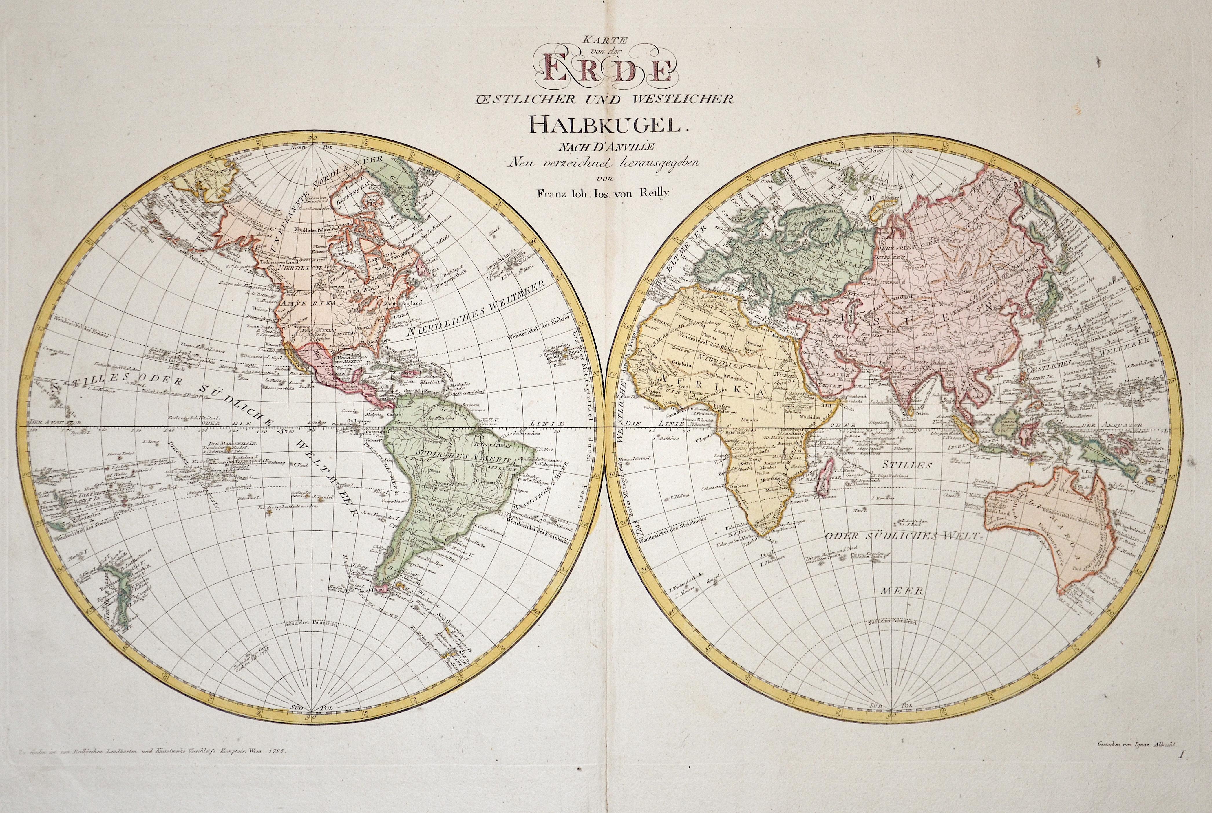 Walch Johann Karte der Erde, nach ihrer oestlich, westlich, noerdlich und südlichen Halbkugel, aus den zuverlässigsten u. neuesten Nachrichten entworfen 1803.