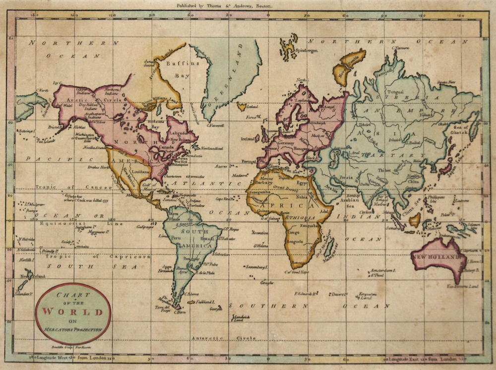 Thomas/Andrews  Chart of the World on Mercators Projection