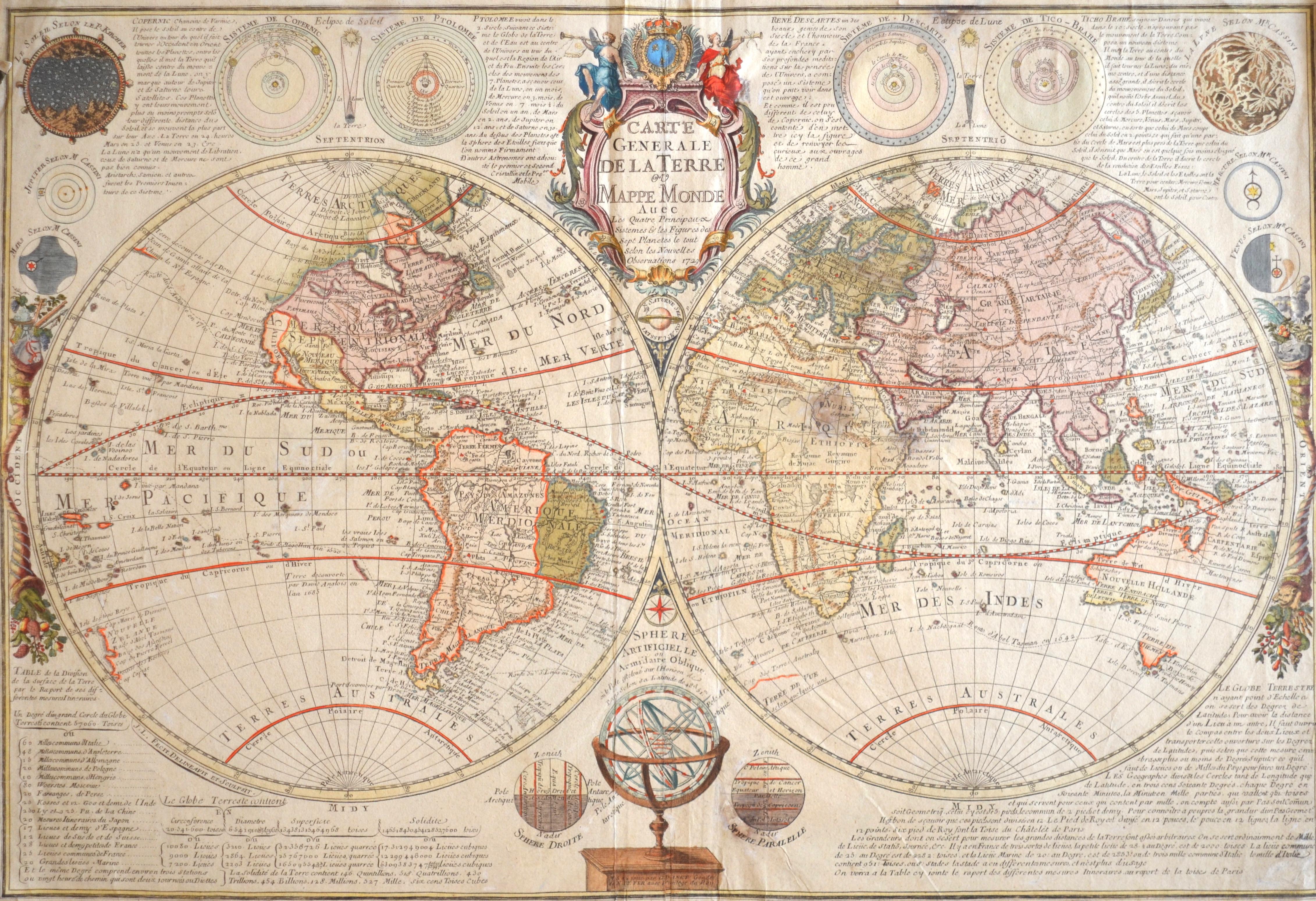 Fer, de  Carte Generale de la Terre ou Mappe Monde avec Les Quatre Principaux Sistemes & les Figures des Sept Planetes le tout selon les Nouvelles Observations