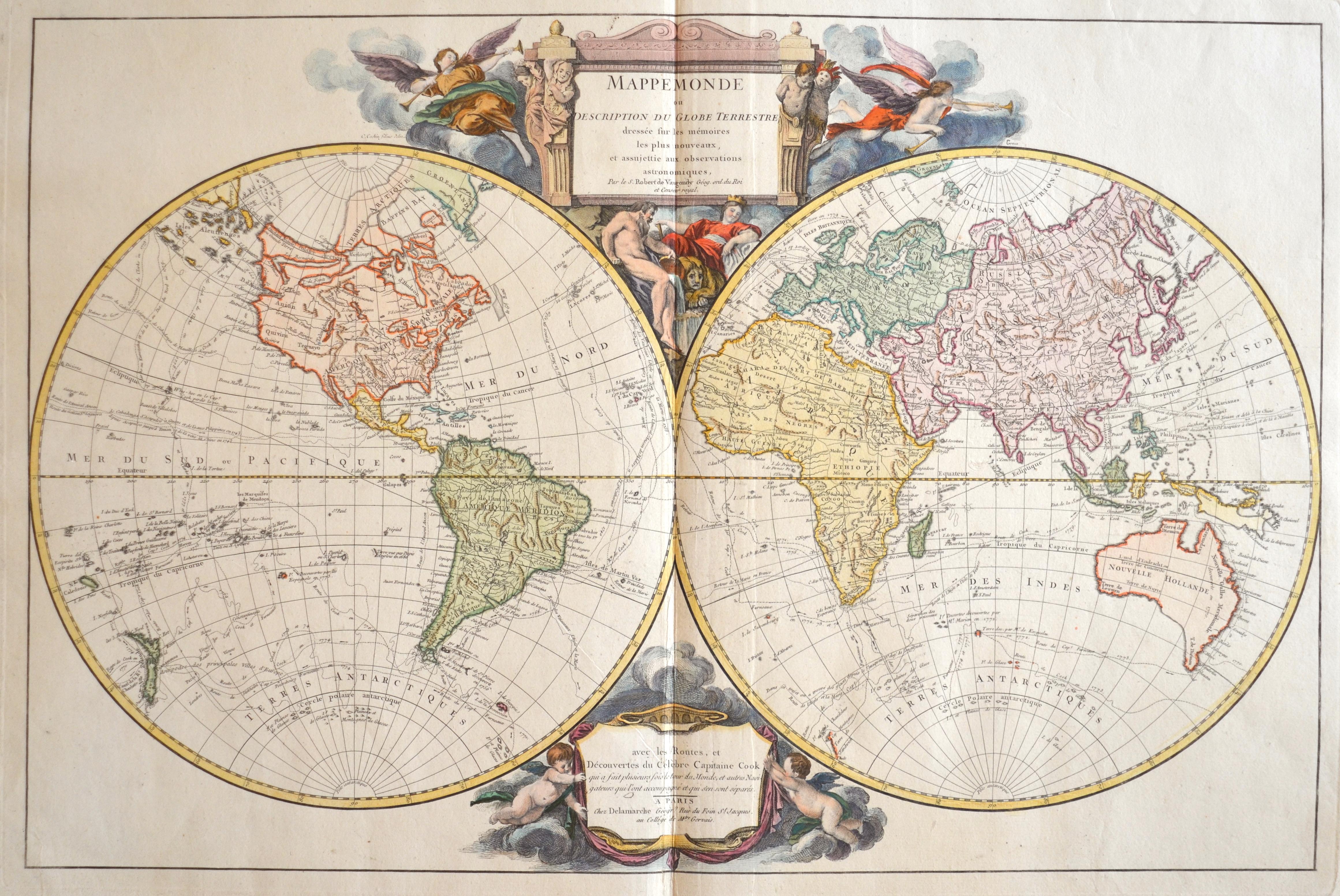 Delamarche  Mappe Monde ou description du Globe Terrestre