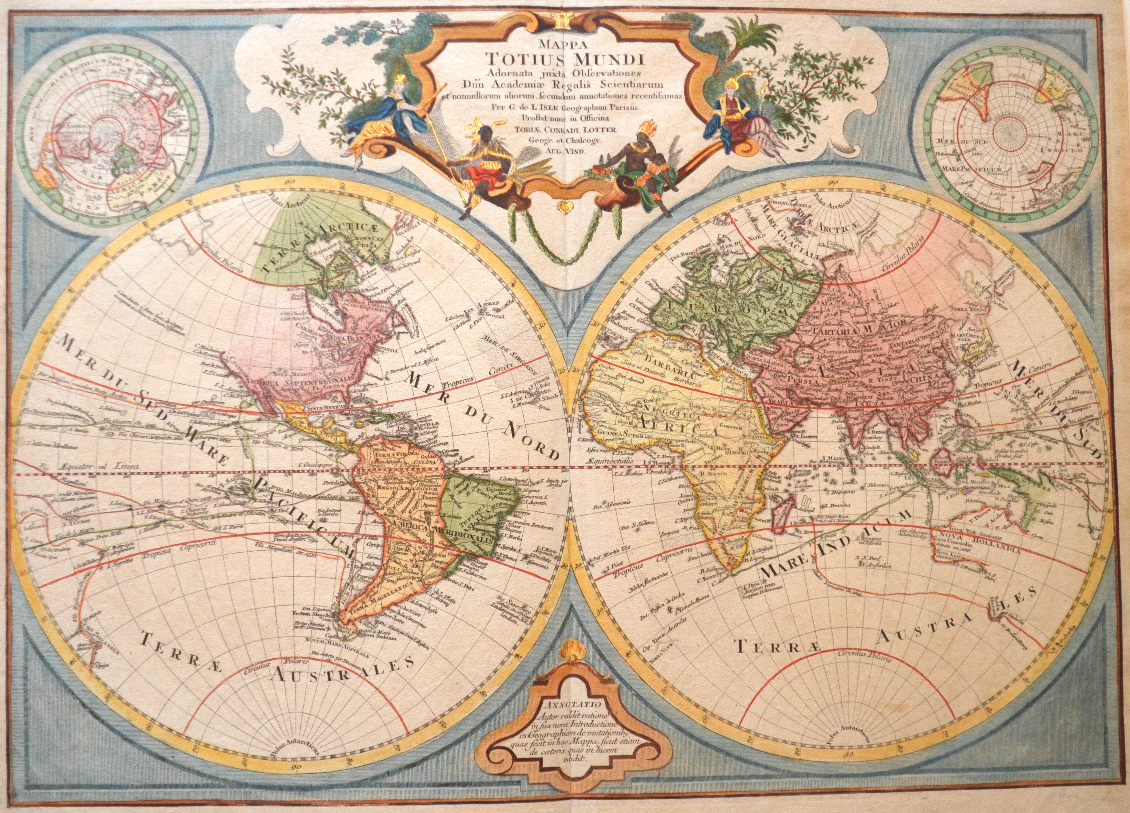 Lotter Tobias Conrad Mappa Totius Mundi Adornata juxta Observationes…
