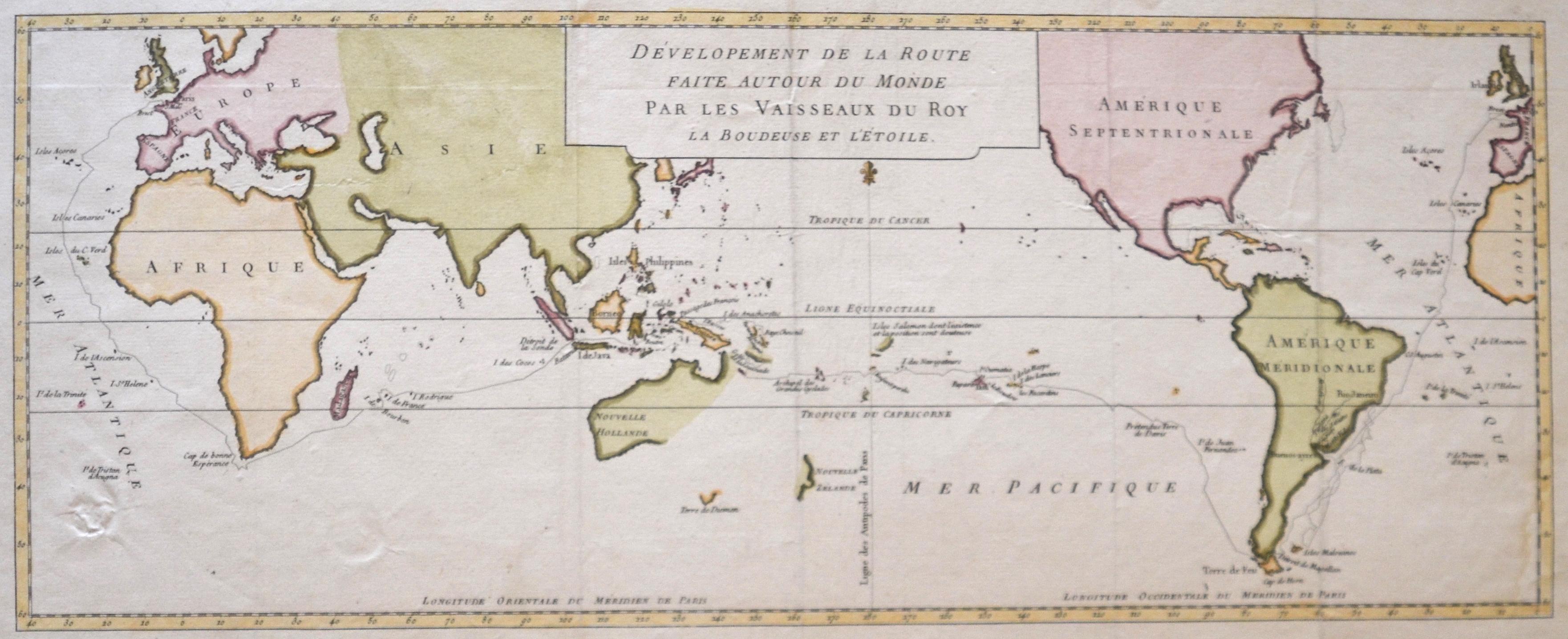 Bellin Jacques Nicolas Dévelopement de la route faite autour du monde par les vaisseaux du roy la boudeuse et l'étoile.