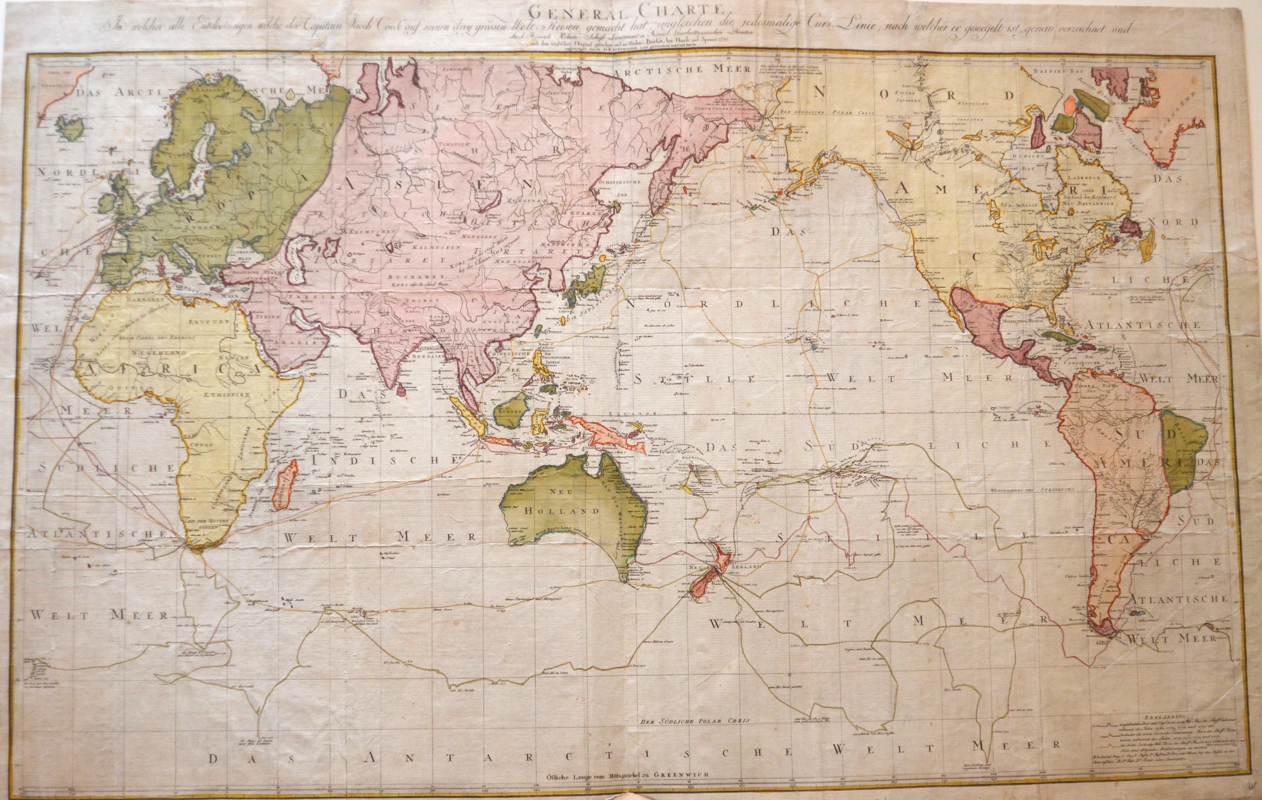 Sotzmann Daniel Friedrich General Charte in welcher alle Entdeckungen welche der Capitain Jacob Cook auf seinen drey grossen Welt Reisen gemacht hat,..