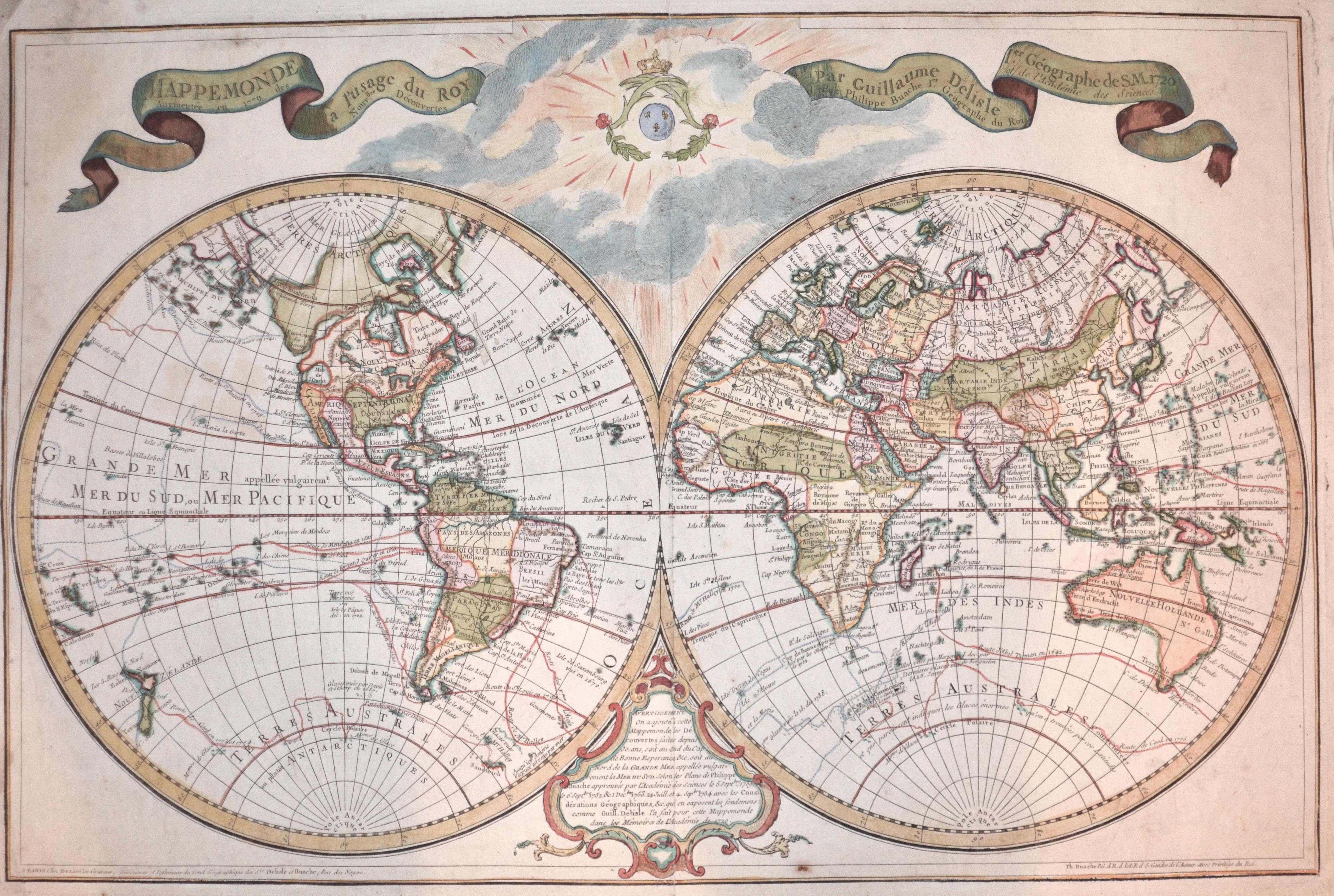 L´Isle, de  Mappe Monde a lussage du Roy par Guillaume DeLisle 1.er Géographe de S.M. 1720